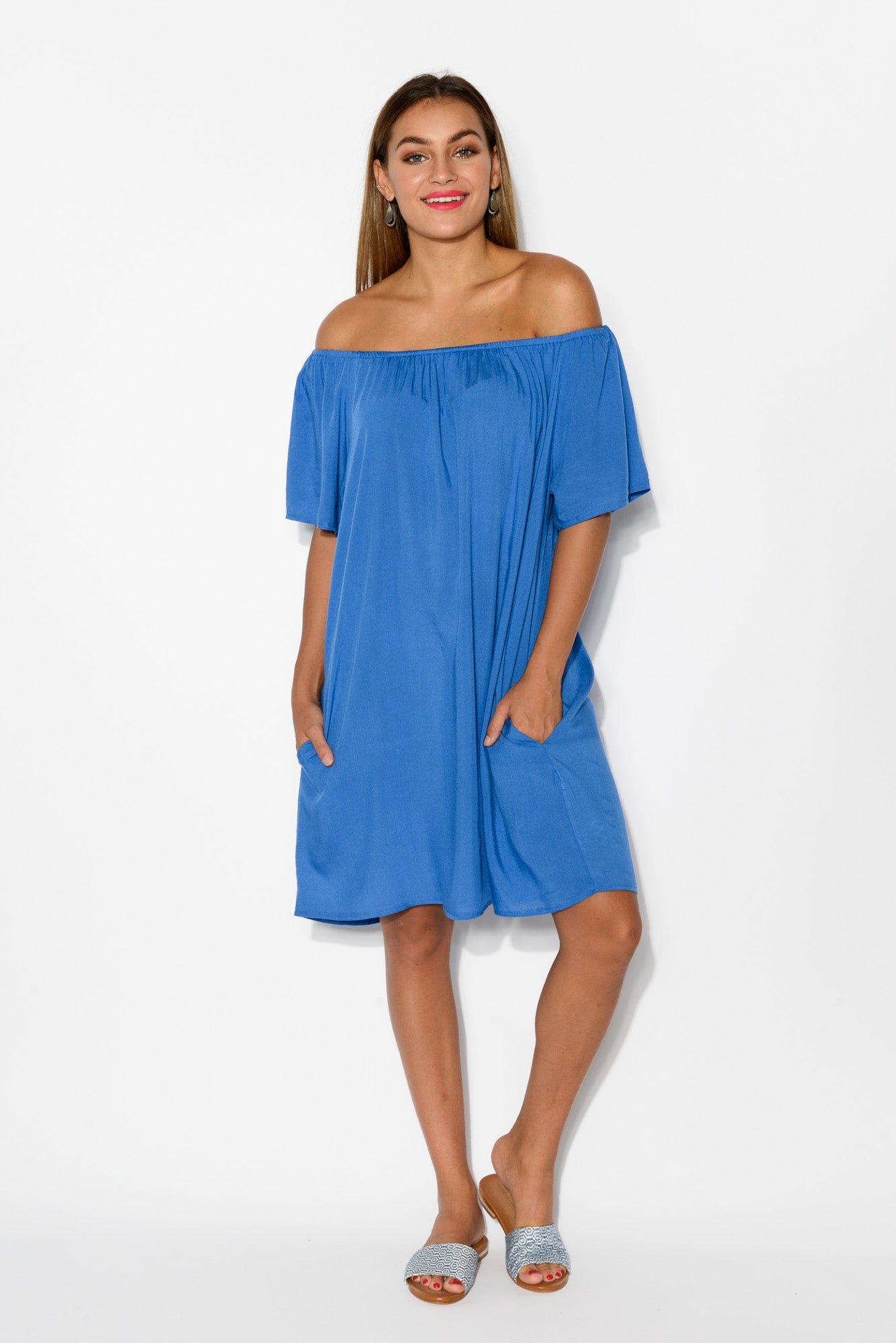 Lauren Cobalt Blue Off Shoulder Dress