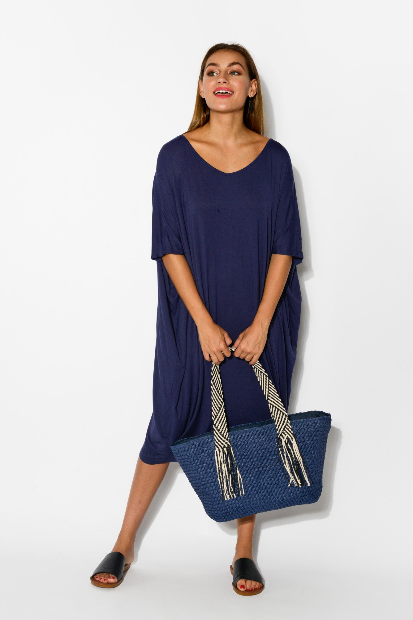 Danica Navy Bamboo Draped Dress - Blue Bungalow