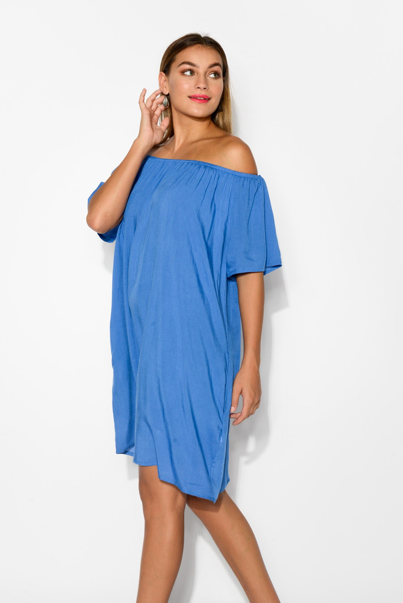 Lauren Cobalt Blue Off Shoulder Dress - Blue Bungalow