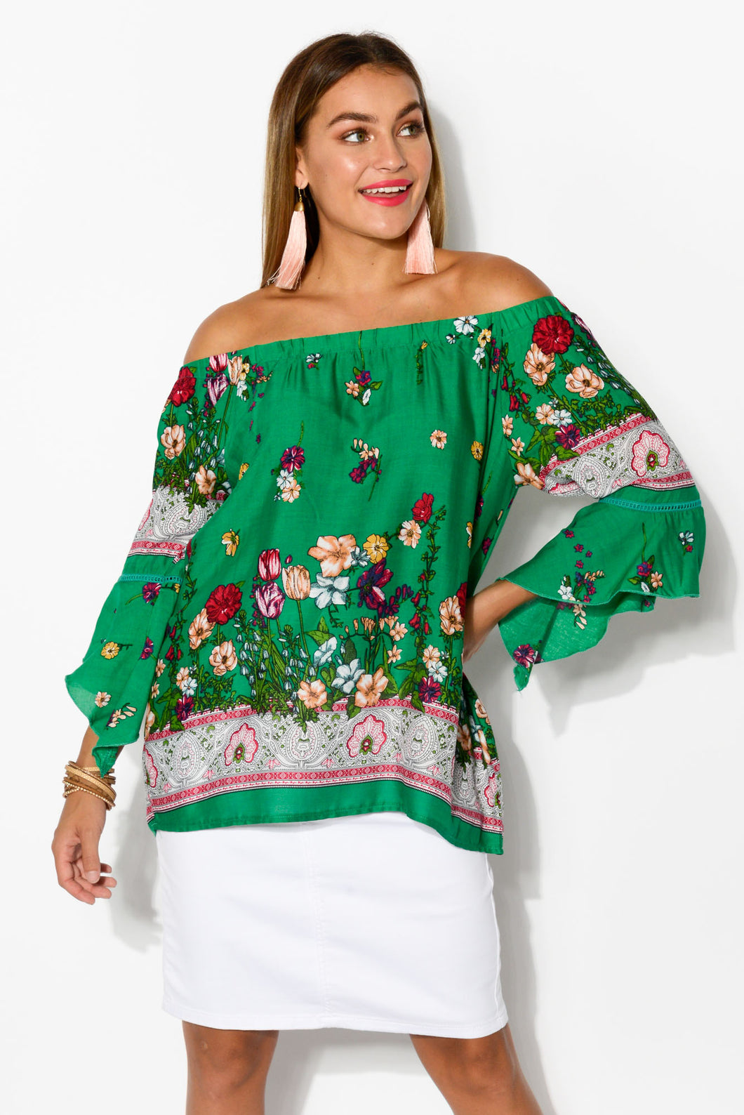 Ronnie Moss Off Shoulder Top - Blue Bungalow