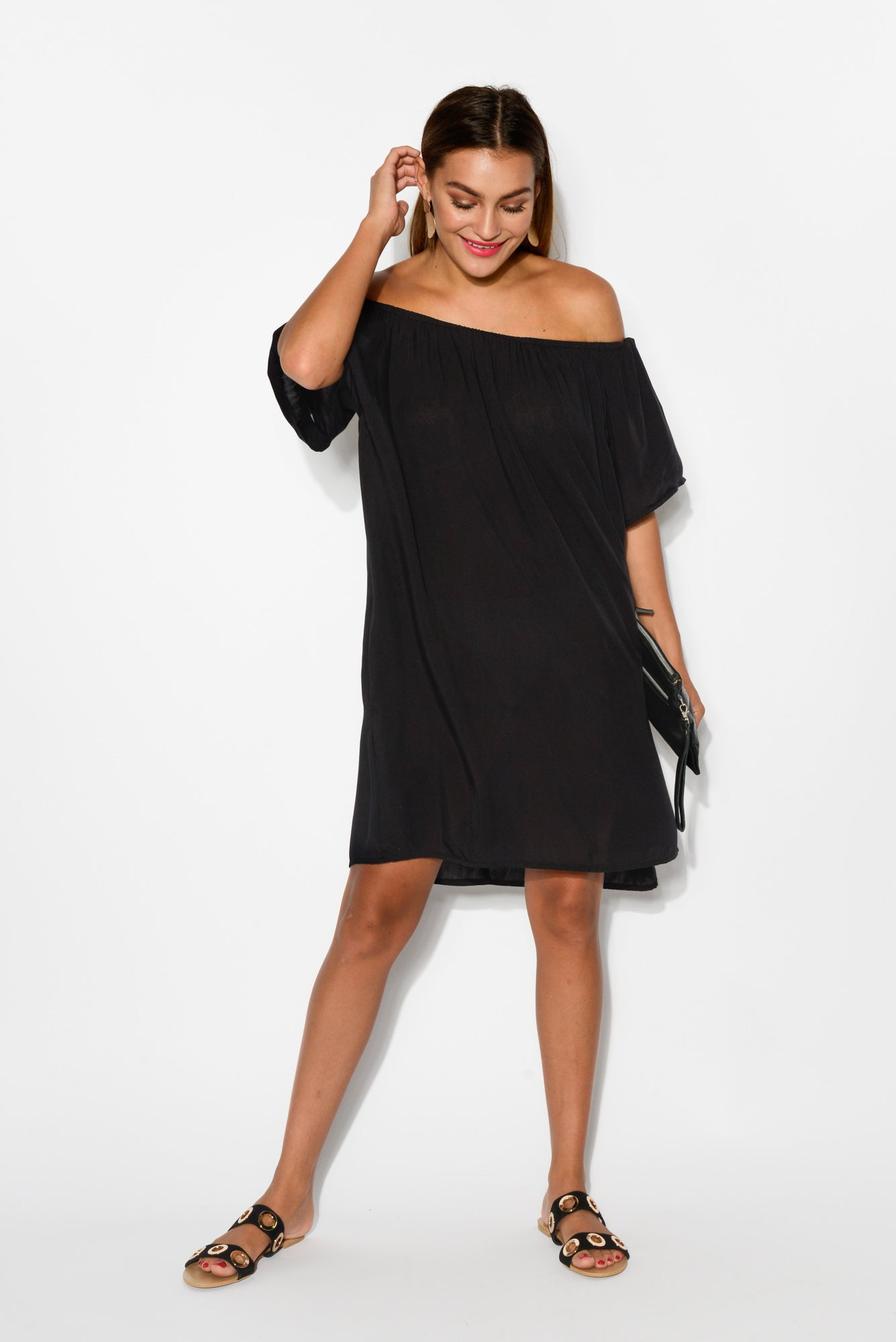 Lauren Black Off Shoulder Dress - Blue Bungalow