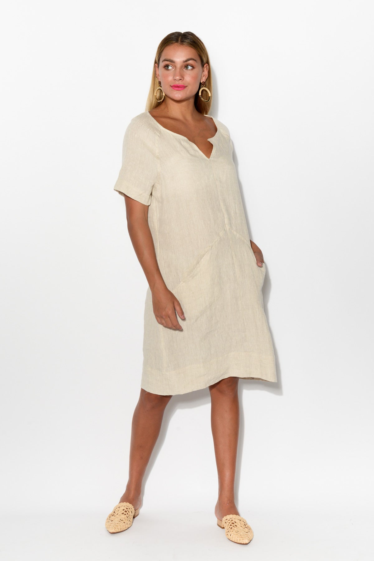Valerie Natural Linen Dress - Blue Bungalow