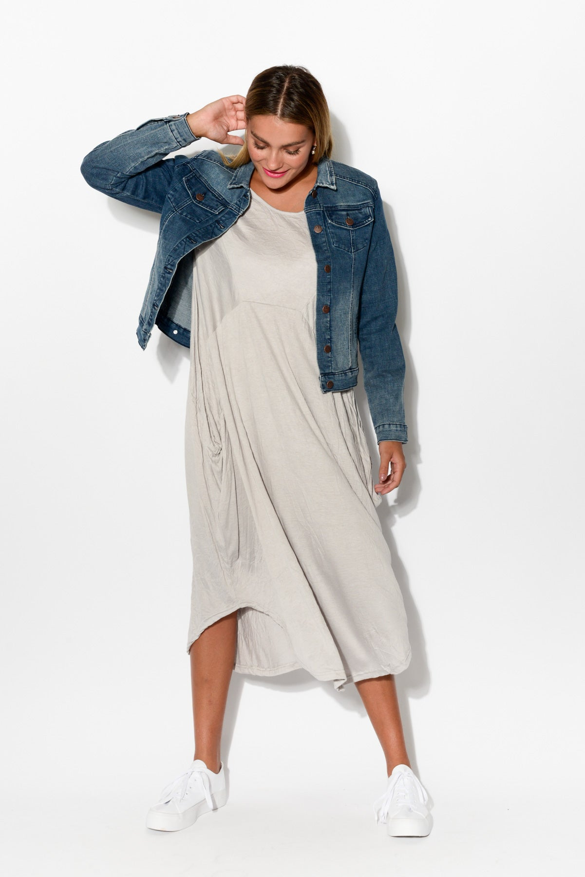 Grey Crinkle Cotton Scoop Dress - Blue Bungalow
