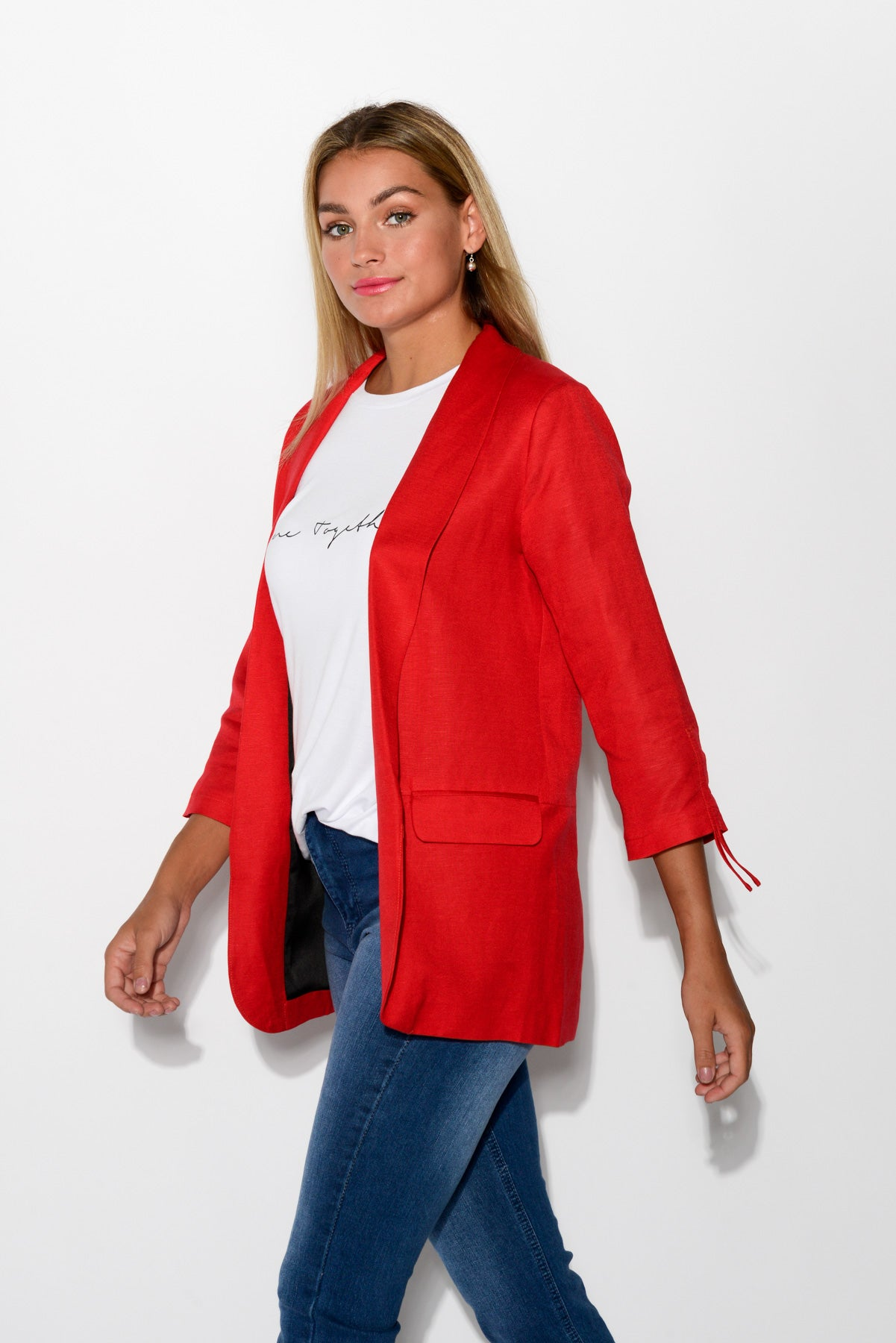 Raven Red Linen Blend Blazer - Blue Bungalow