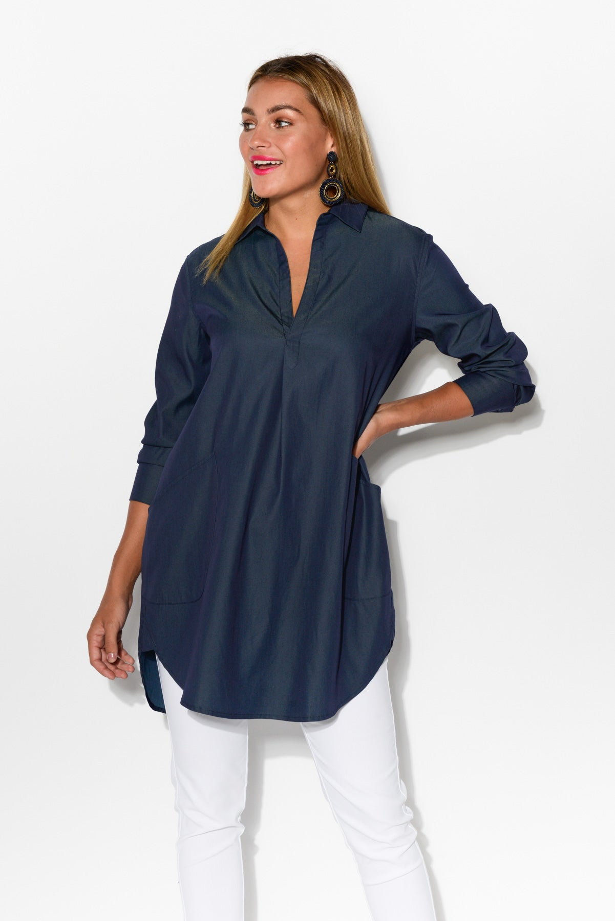 c834939ad Hover to zoom · Lindsay Navy Oversized Shirt ...