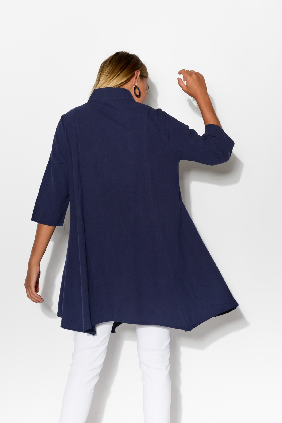 Kay Navy Cotton Tunic Shirt - Blue Bungalow