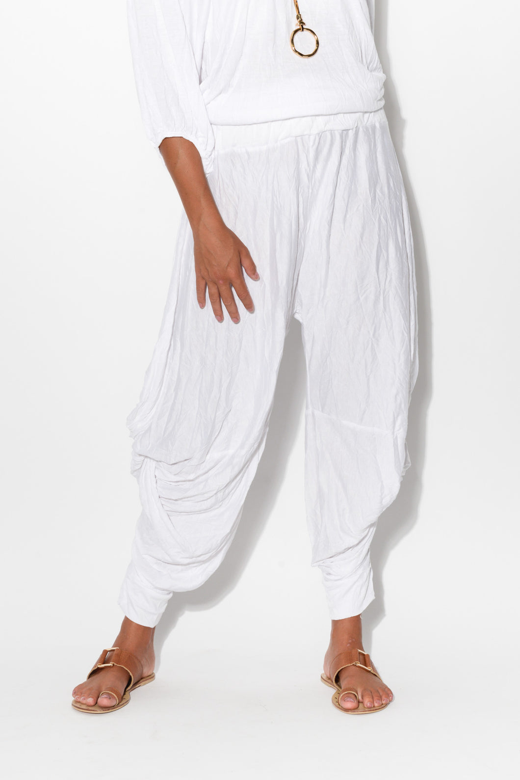 White Crinkle Cotton Cloud Pants - Blue Bungalow