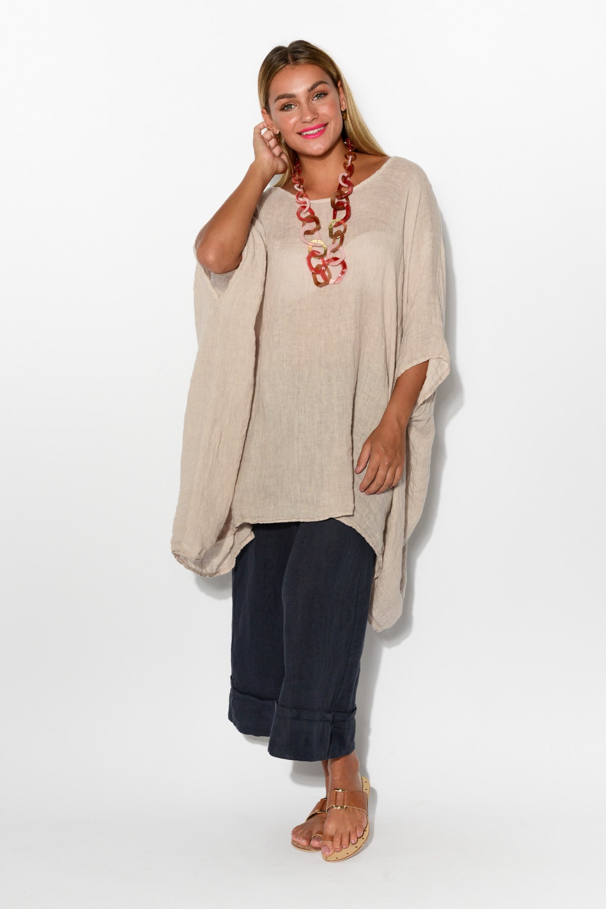 Sofia Oversized Beige Linen Top - Blue Bungalow