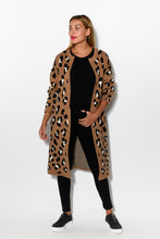 Leopard Long Knit Cardigan - Blue Bungalow
