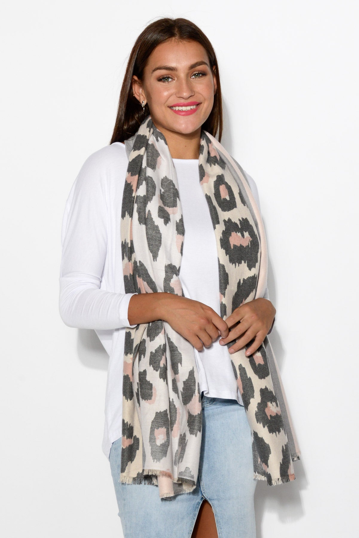 Claudia Blush Leopard Scarf - Blue Bungalow