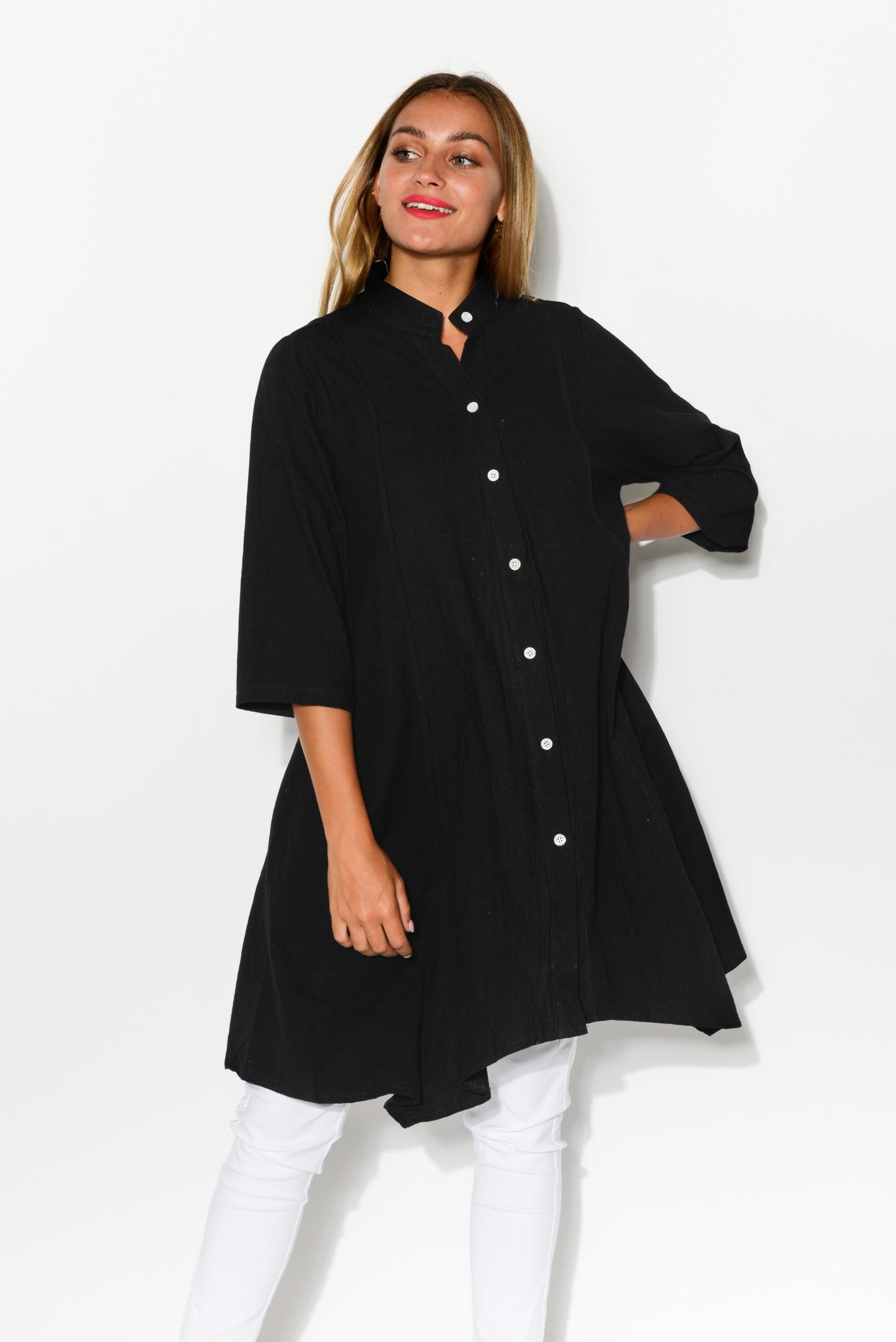 Kay Black Cotton Tunic Shirt - Blue Bungalow