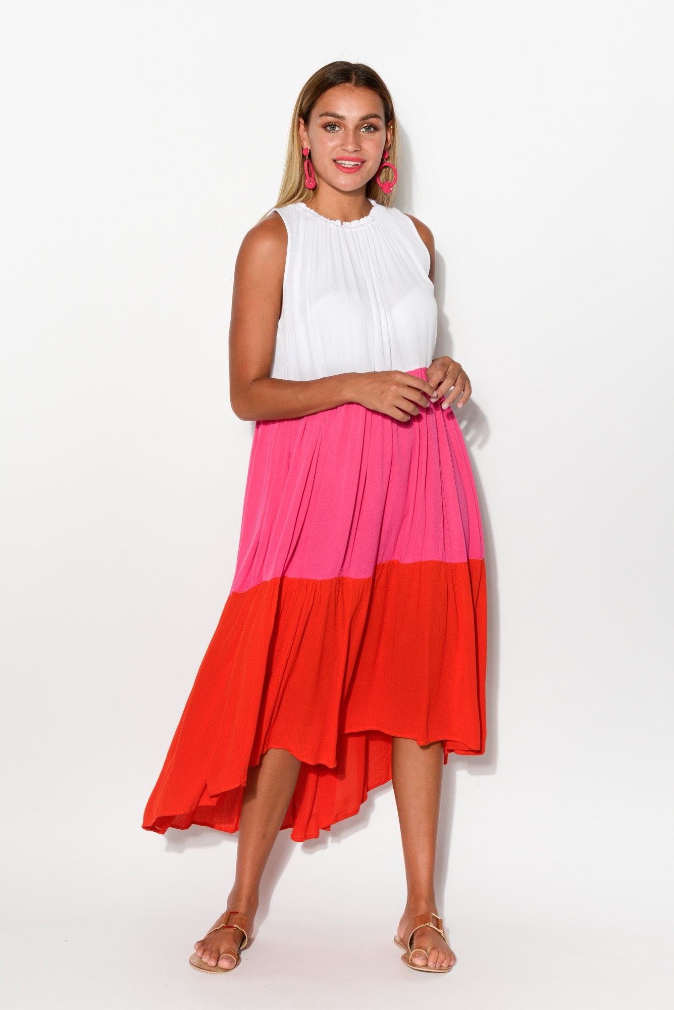 Pink Tiered Midi Dress - Blue Bungalow