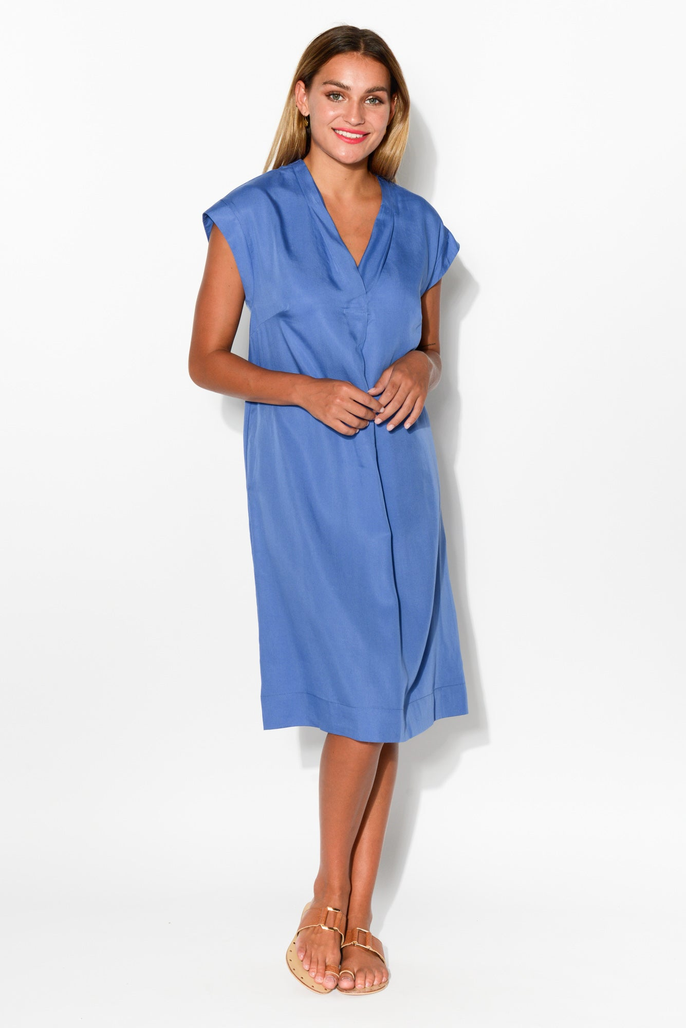 Carla Blue Pocket Dress - Blue Bungalow