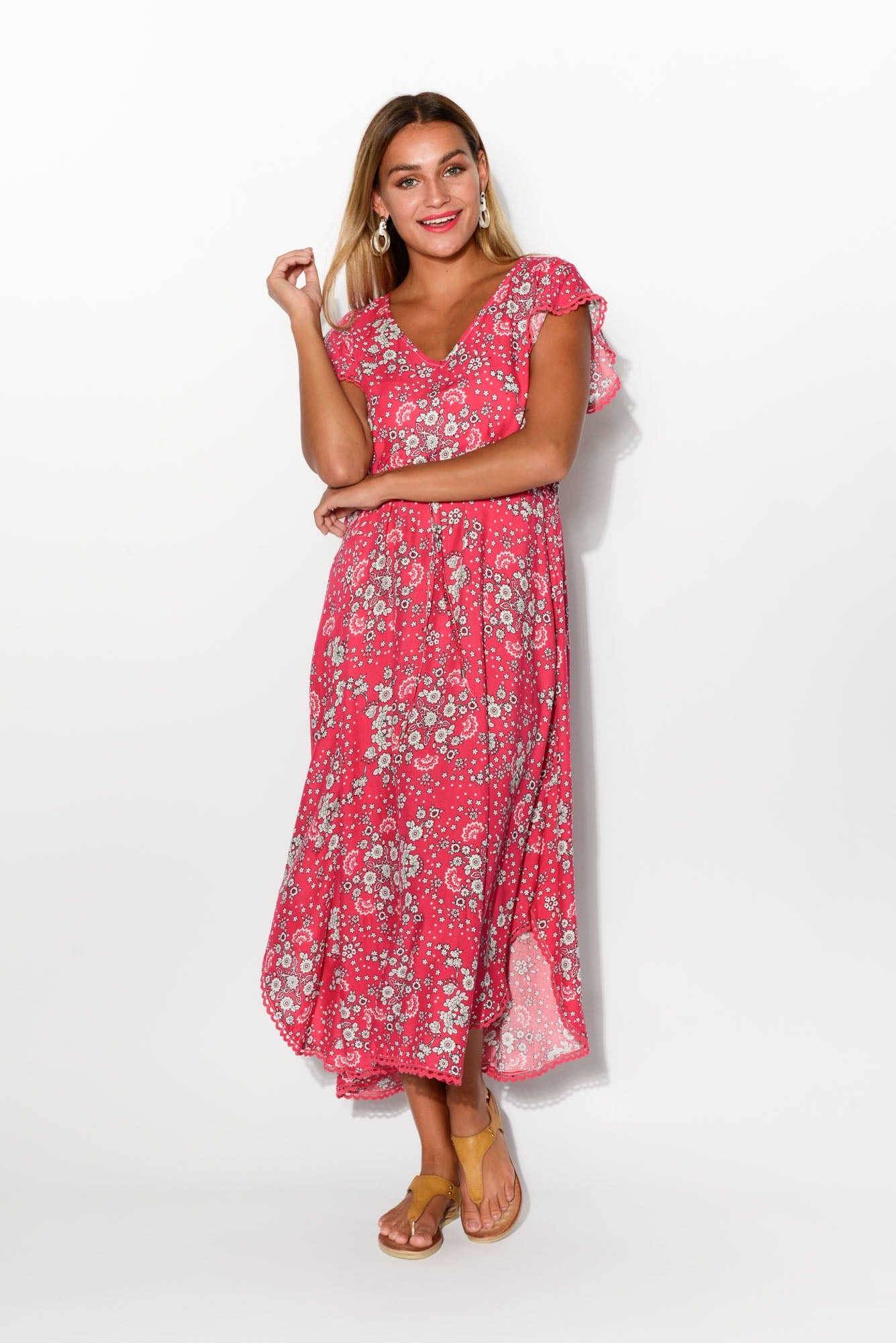 Brianna Pink Floral Midi Dress - Blue Bungalow