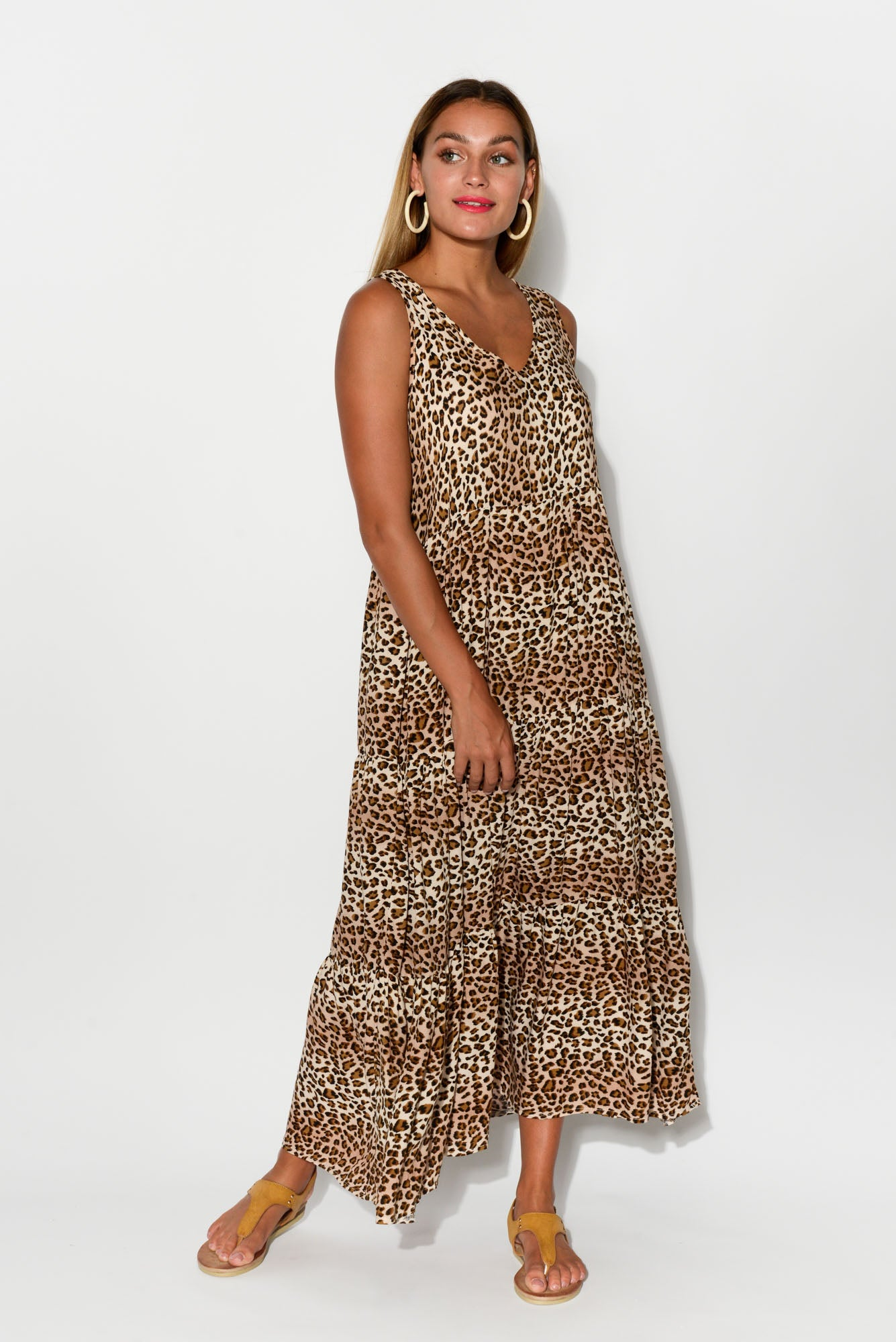 Luna Leopard Tier Dress - Blue Bungalow