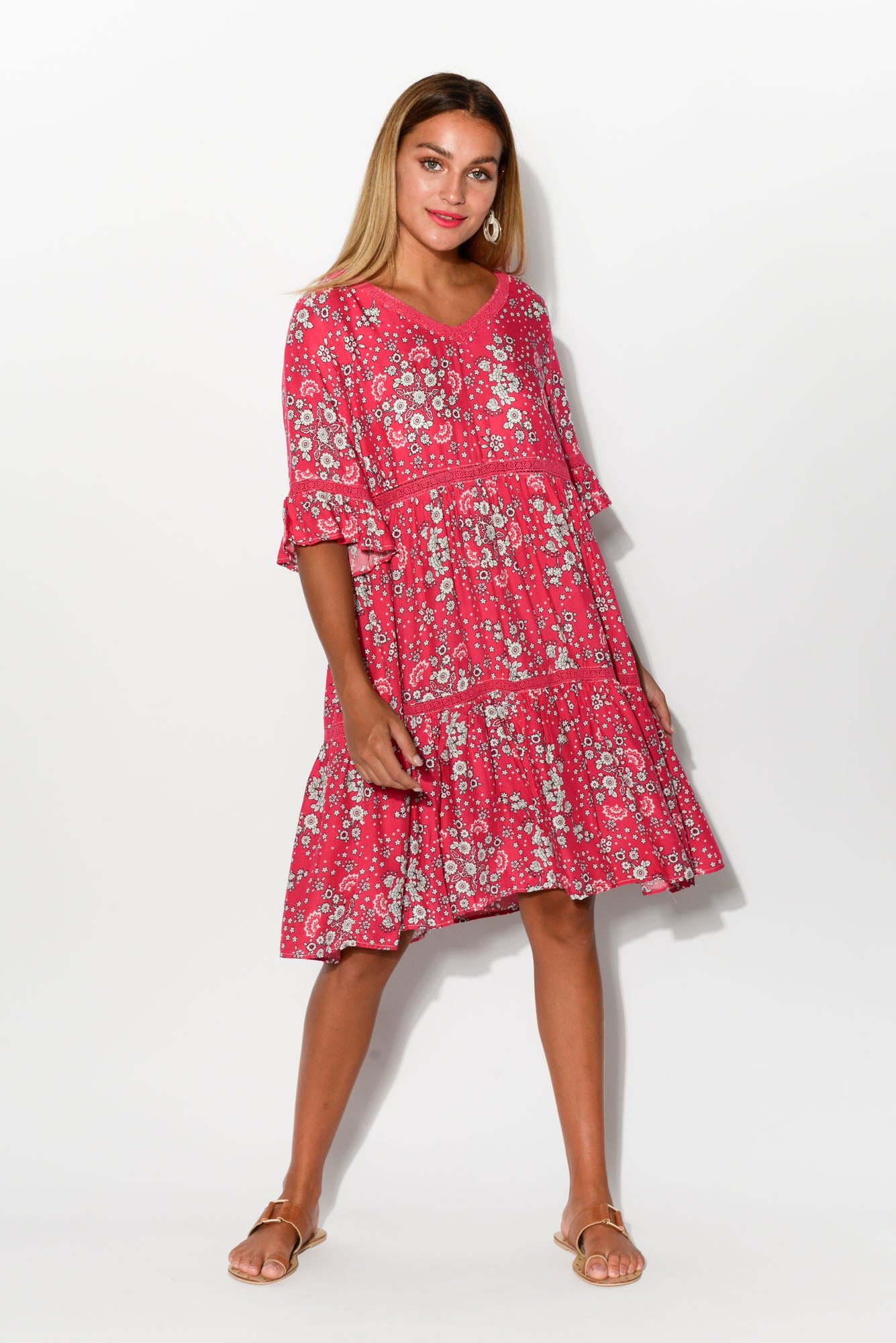 Hover to zoom · Britt Pink Floral Tier Dress ... 99140f561