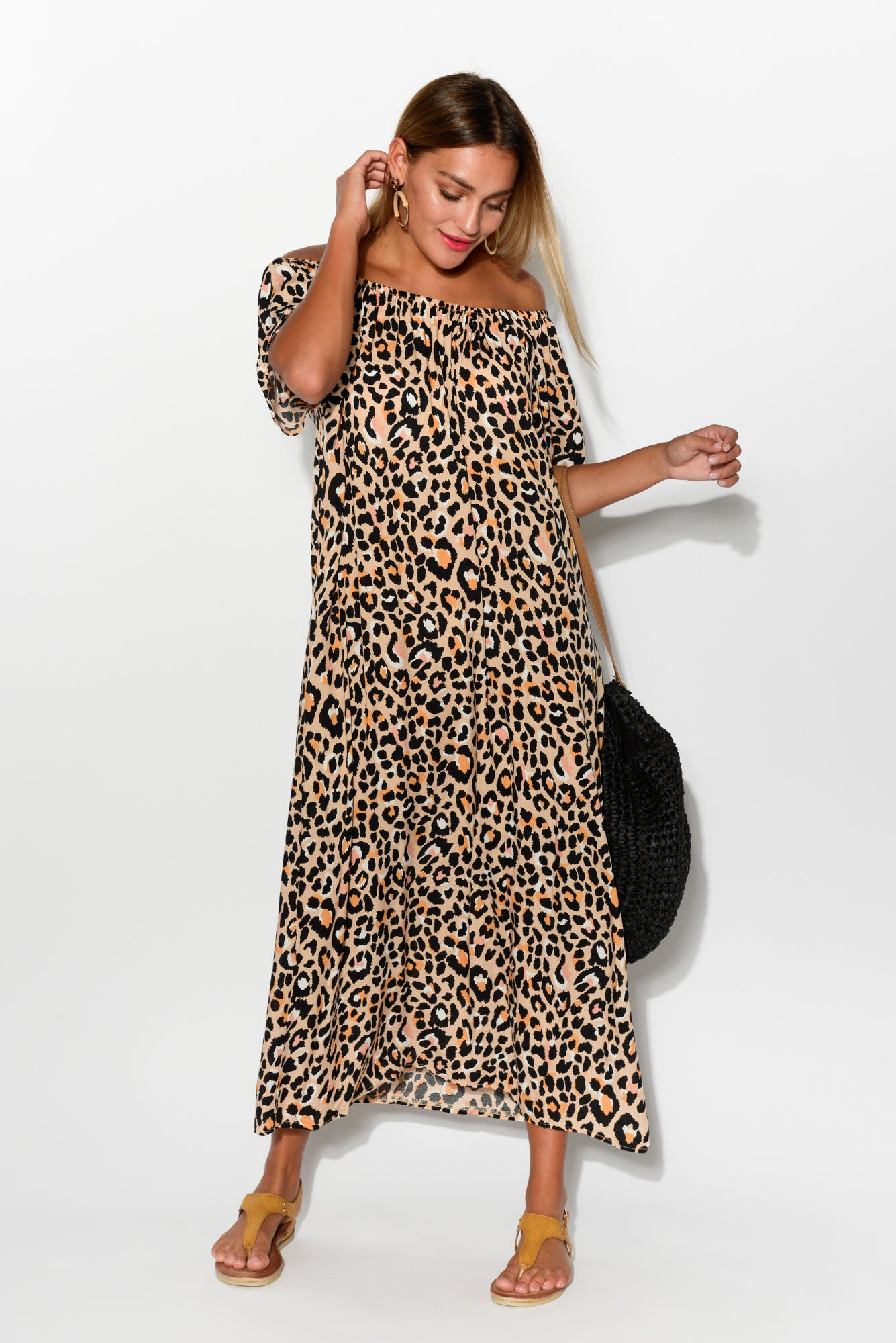 0a52e9408a Jaymie Leopard Off Shoulder Maxi Dress - Blue Bungalow. Hover to zoom