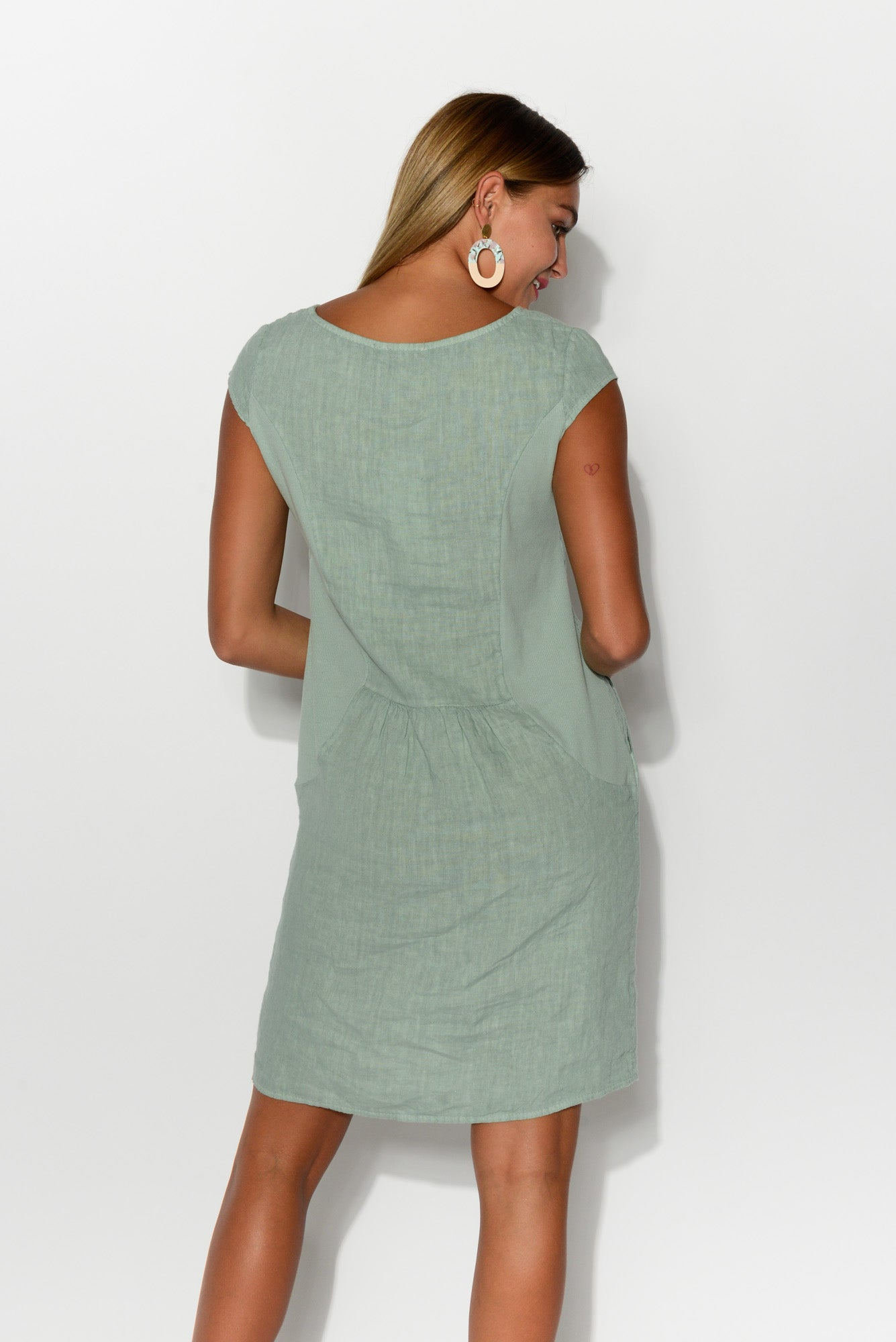 Florence Sea Green Linen Dress - Blue Bungalow