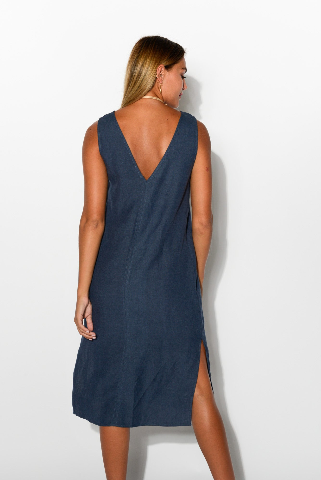 Navy Reversible Linen Blend Dress - Blue Bungalow