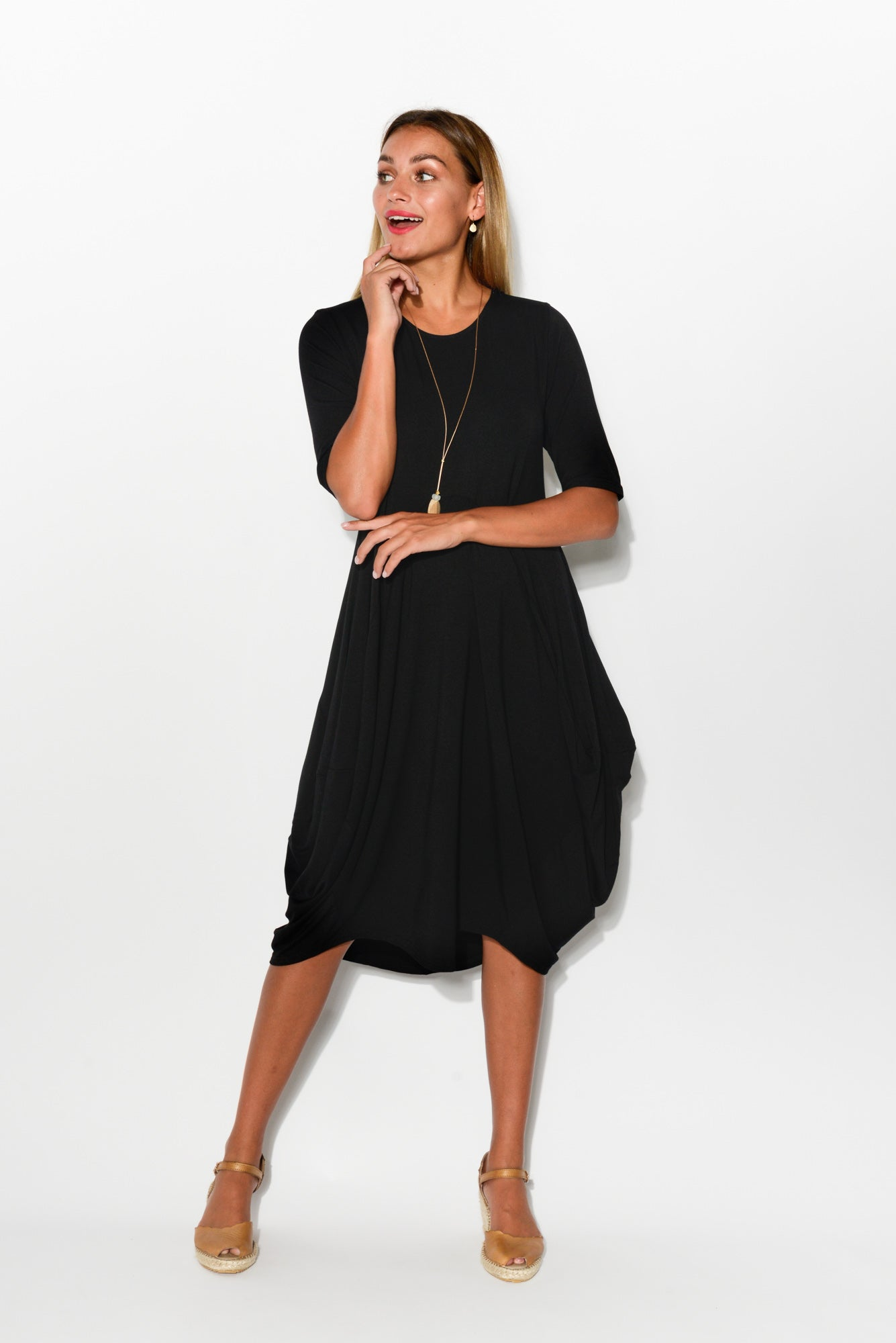 Jenna Black Bamboo Dress - Blue Bungalow