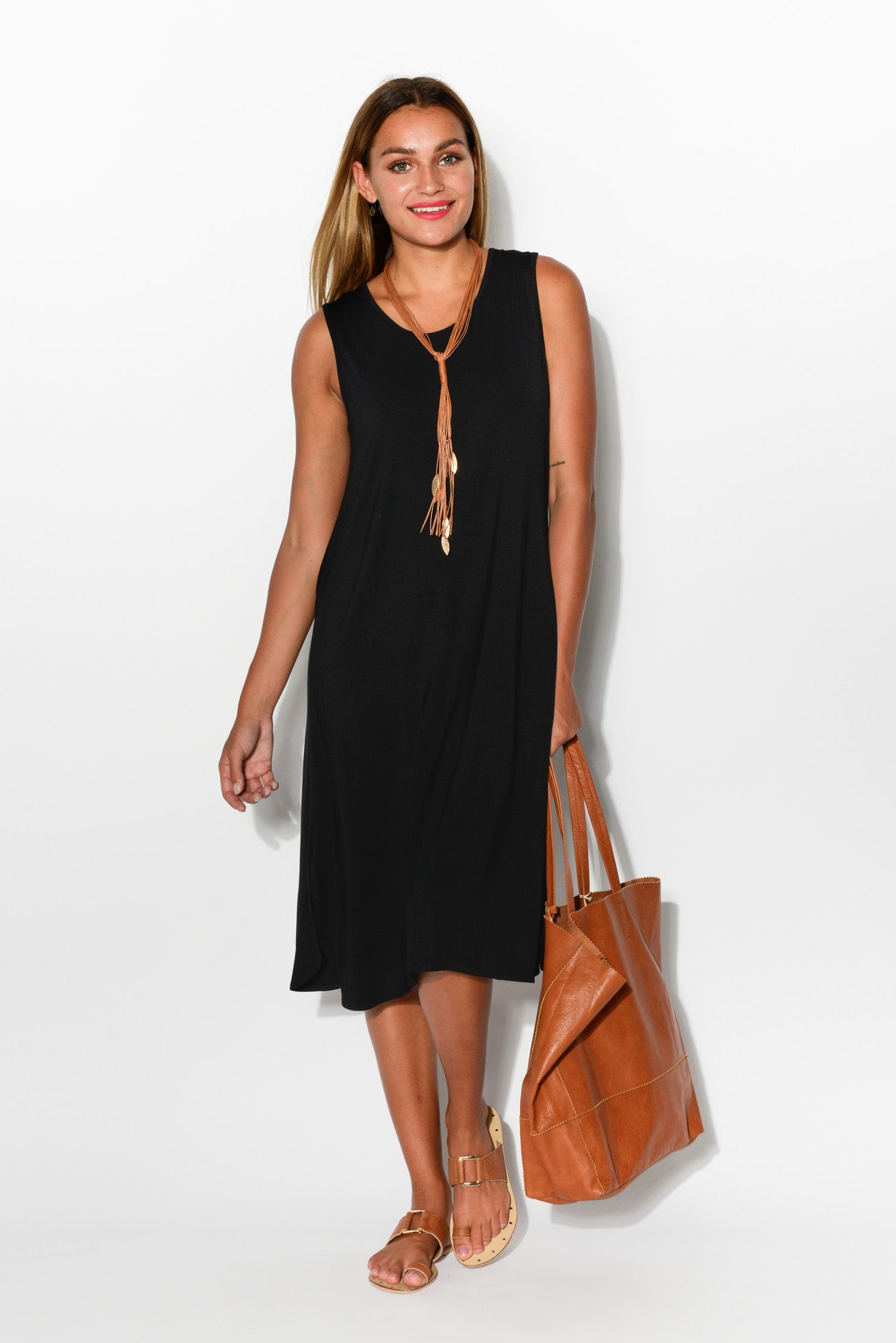 Tara Black Bamboo Tank Dress - Blue Bungalow