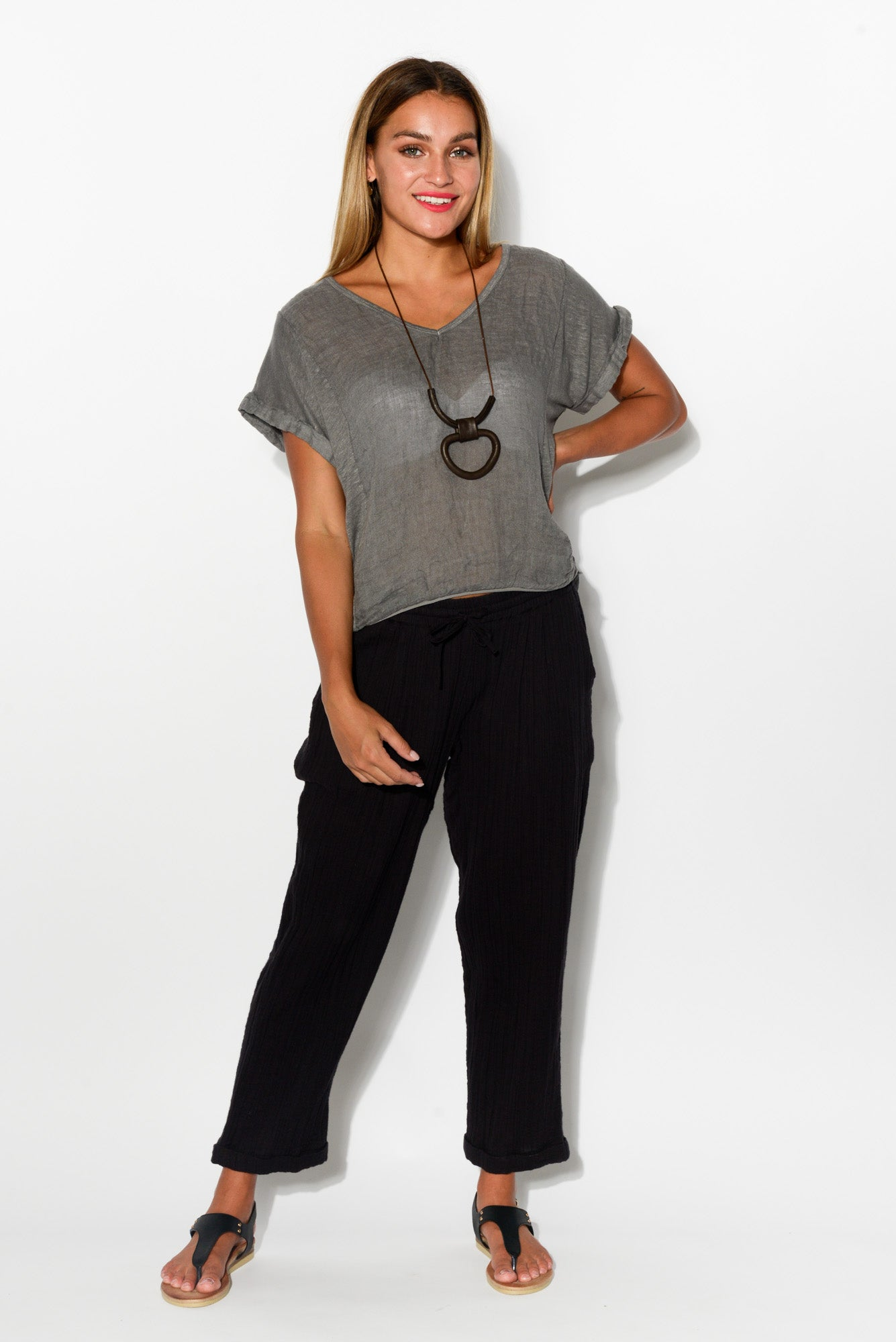 Black Bonded Cotton Pant - Blue Bungalow
