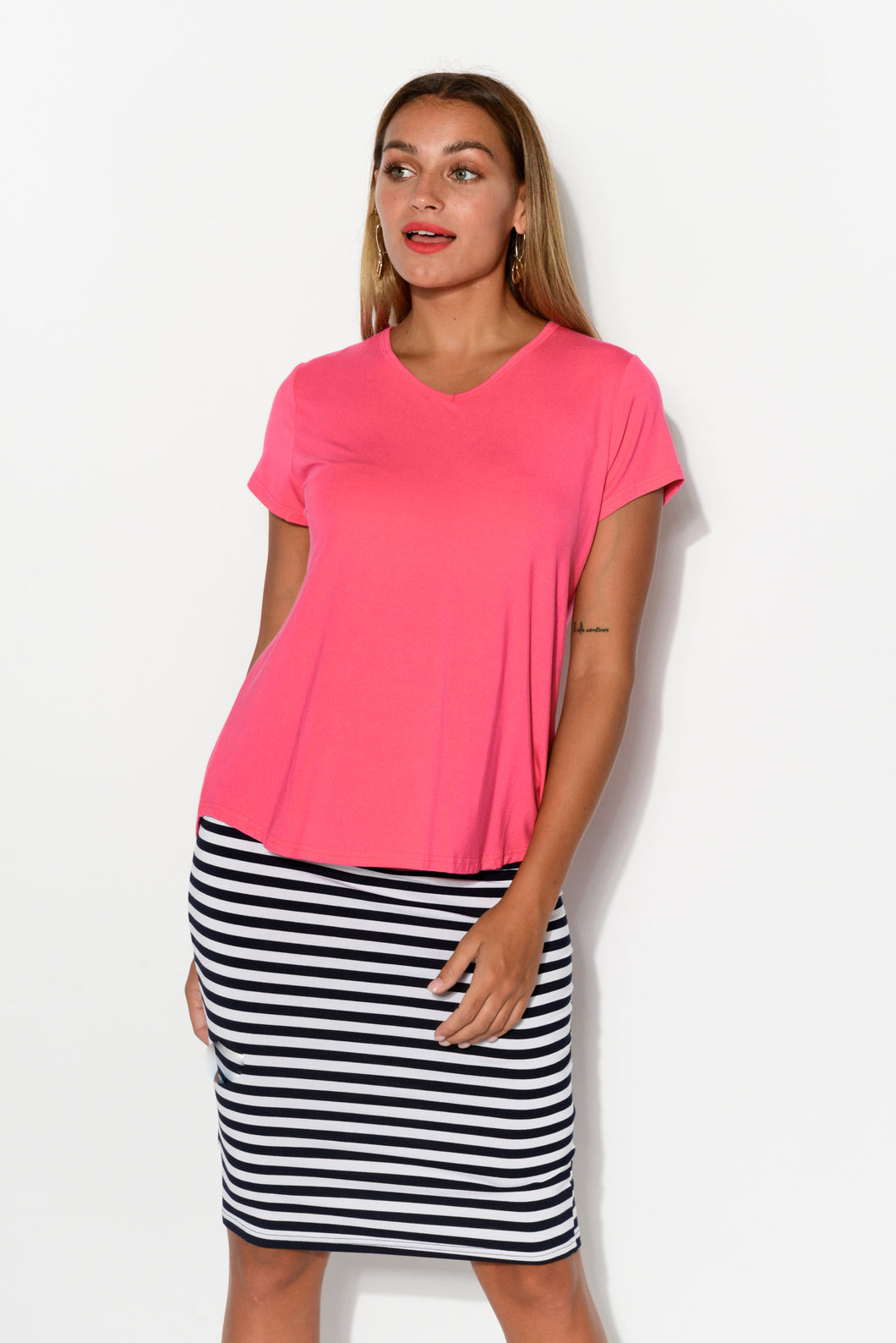 Paige Pink Bamboo Tee - Blue Bungalow