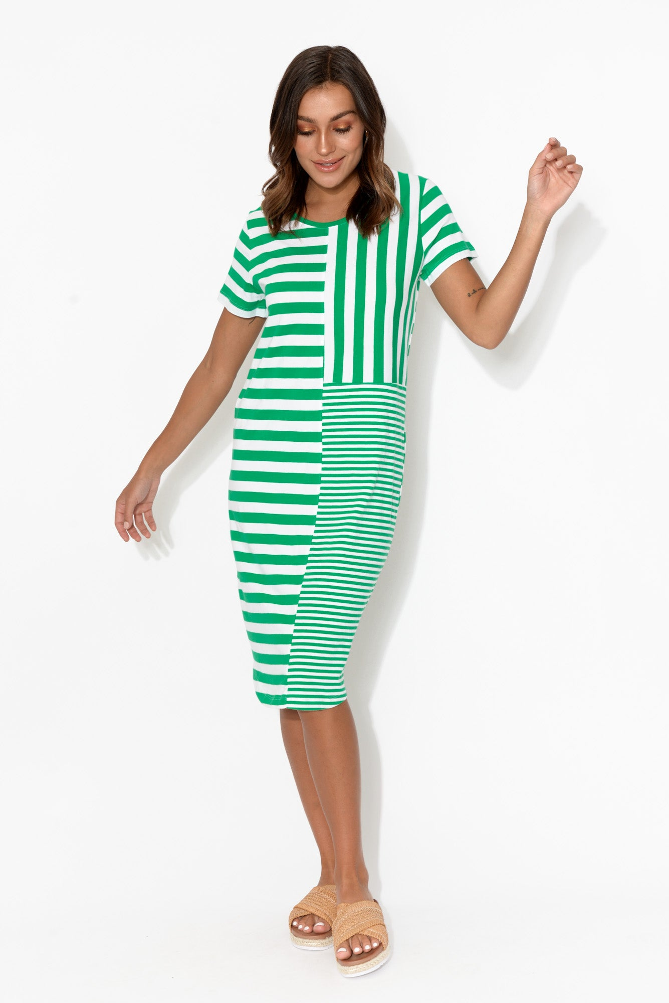Back to Back Green Stripe Dress