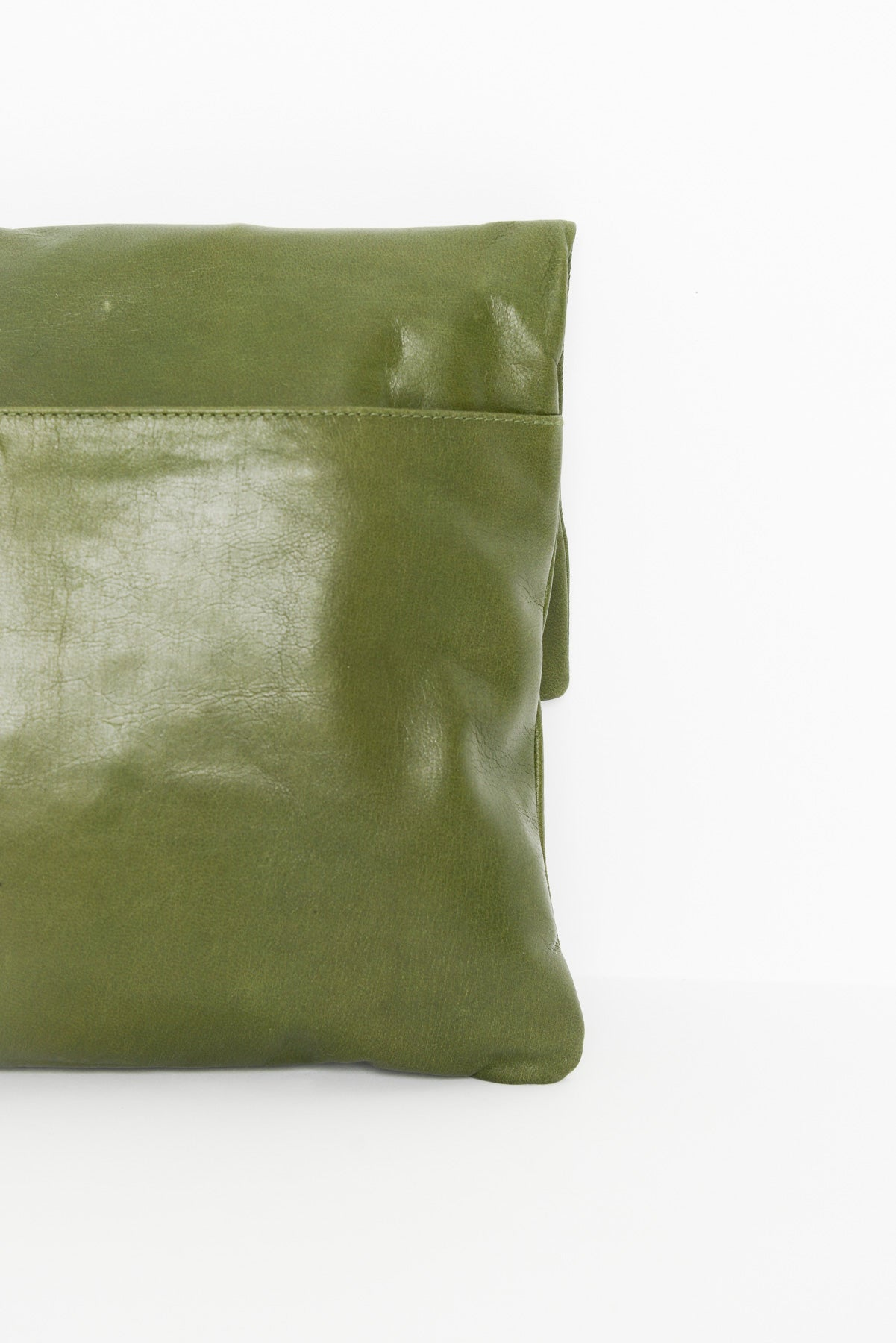 Bambi Olive Foldover Leather Clutch - Blue Bungalow