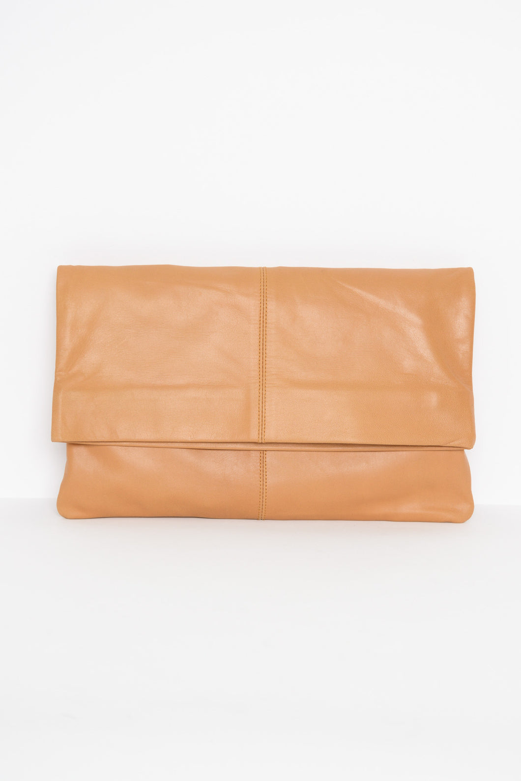Bambi Tan Foldover Leather Clutch - Blue Bungalow