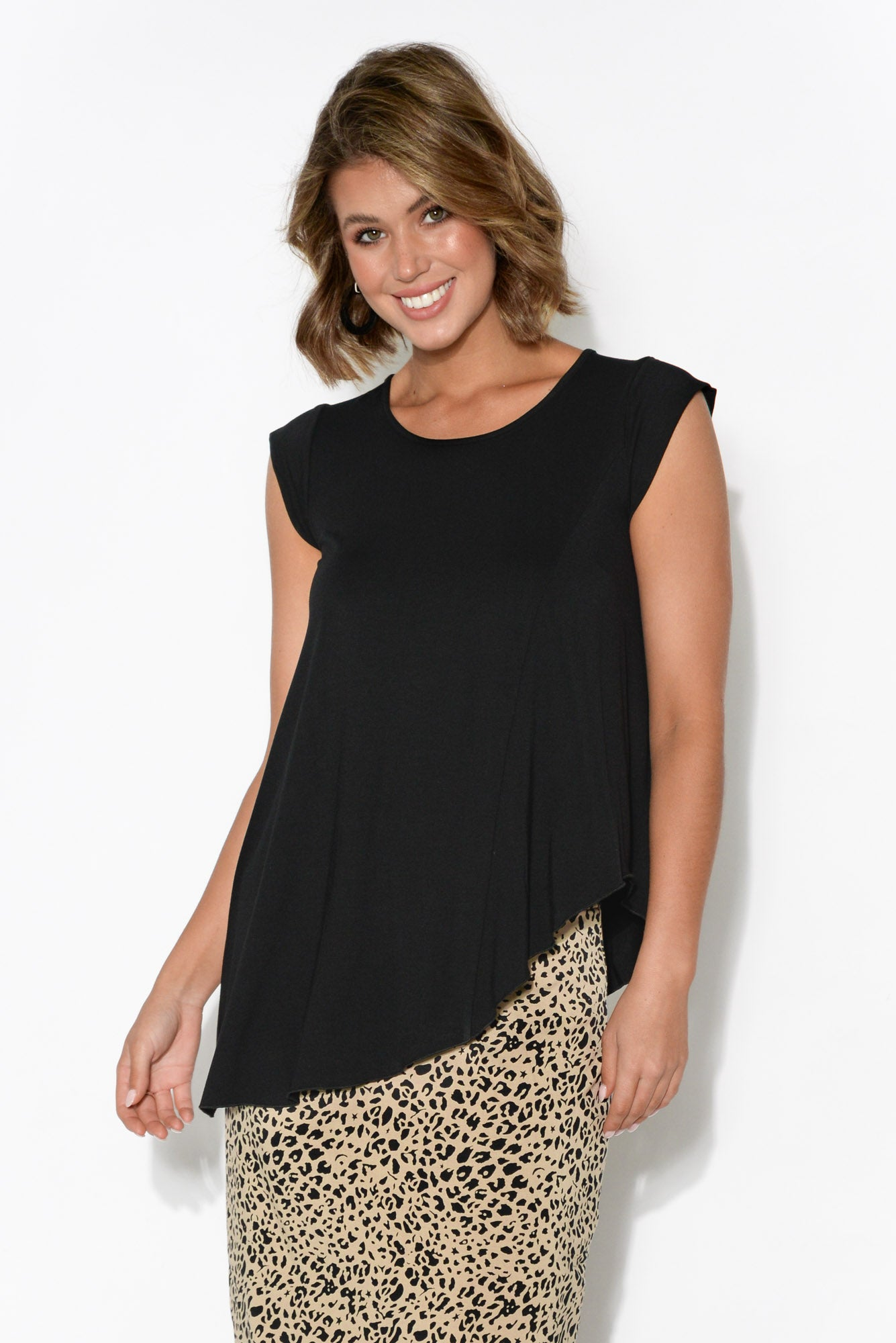 Barbara Black Asymmetrical Bamboo Top