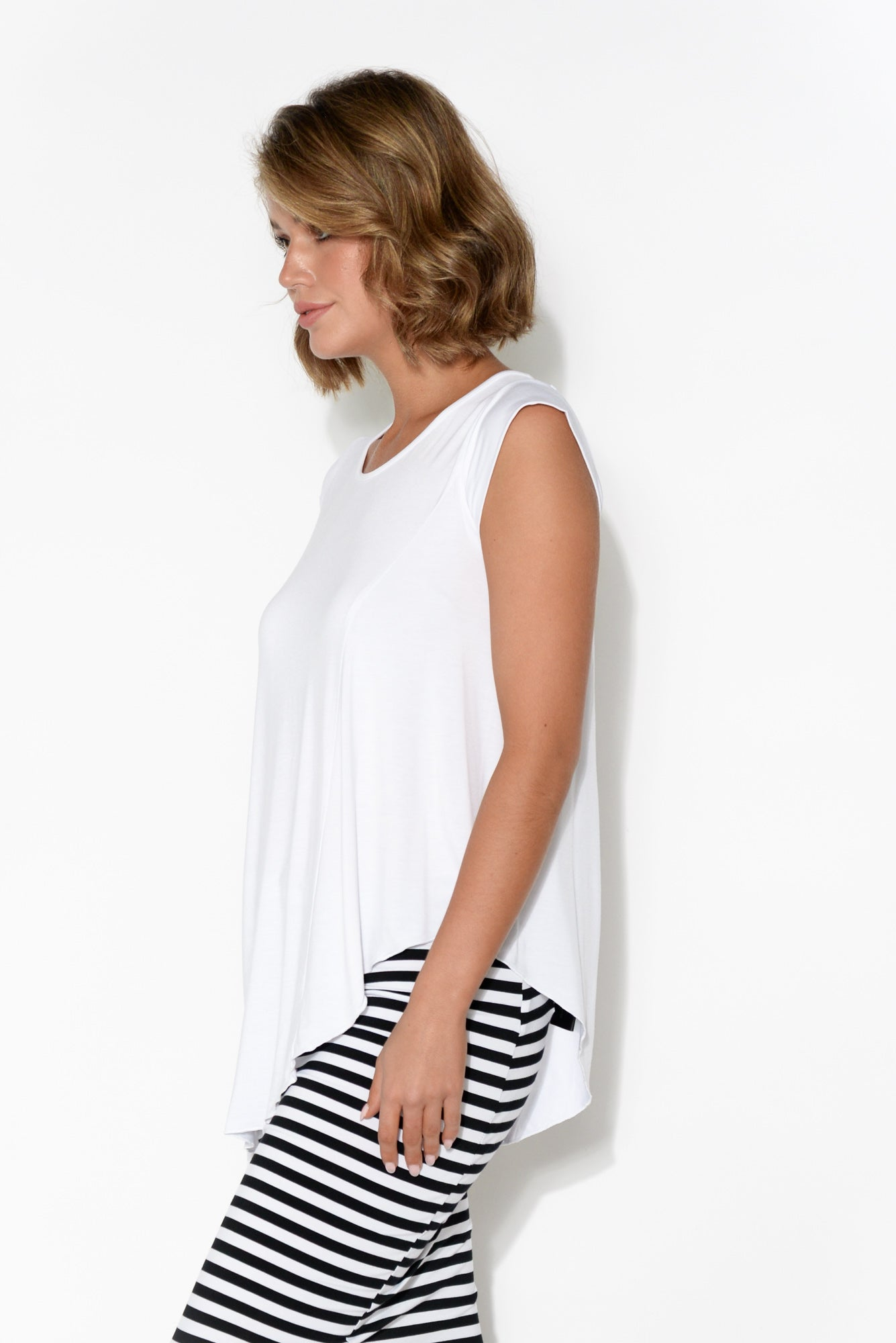 Barbara White Asymmetrical Bamboo Top