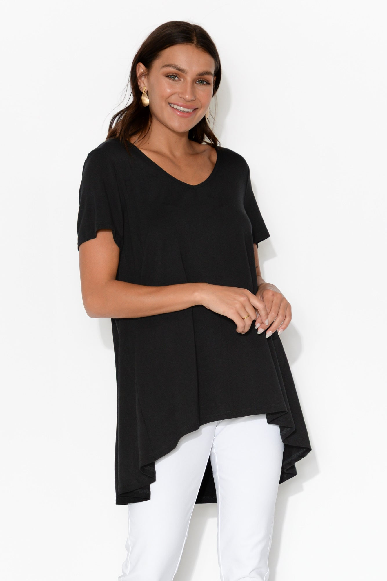 Beck Black Step Hem Top