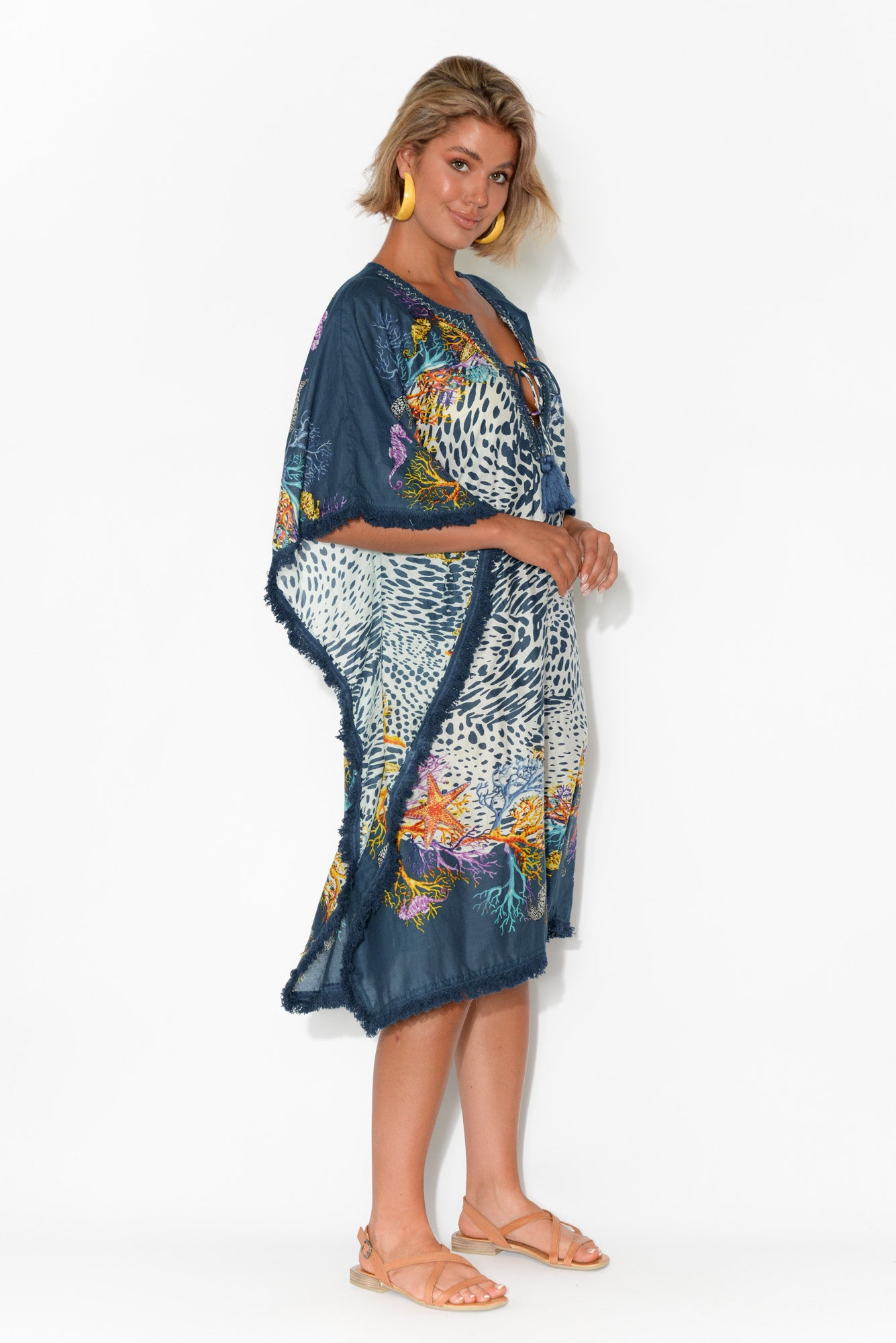 Bedarra Blue Abstract Leopard Cotton Kaftan