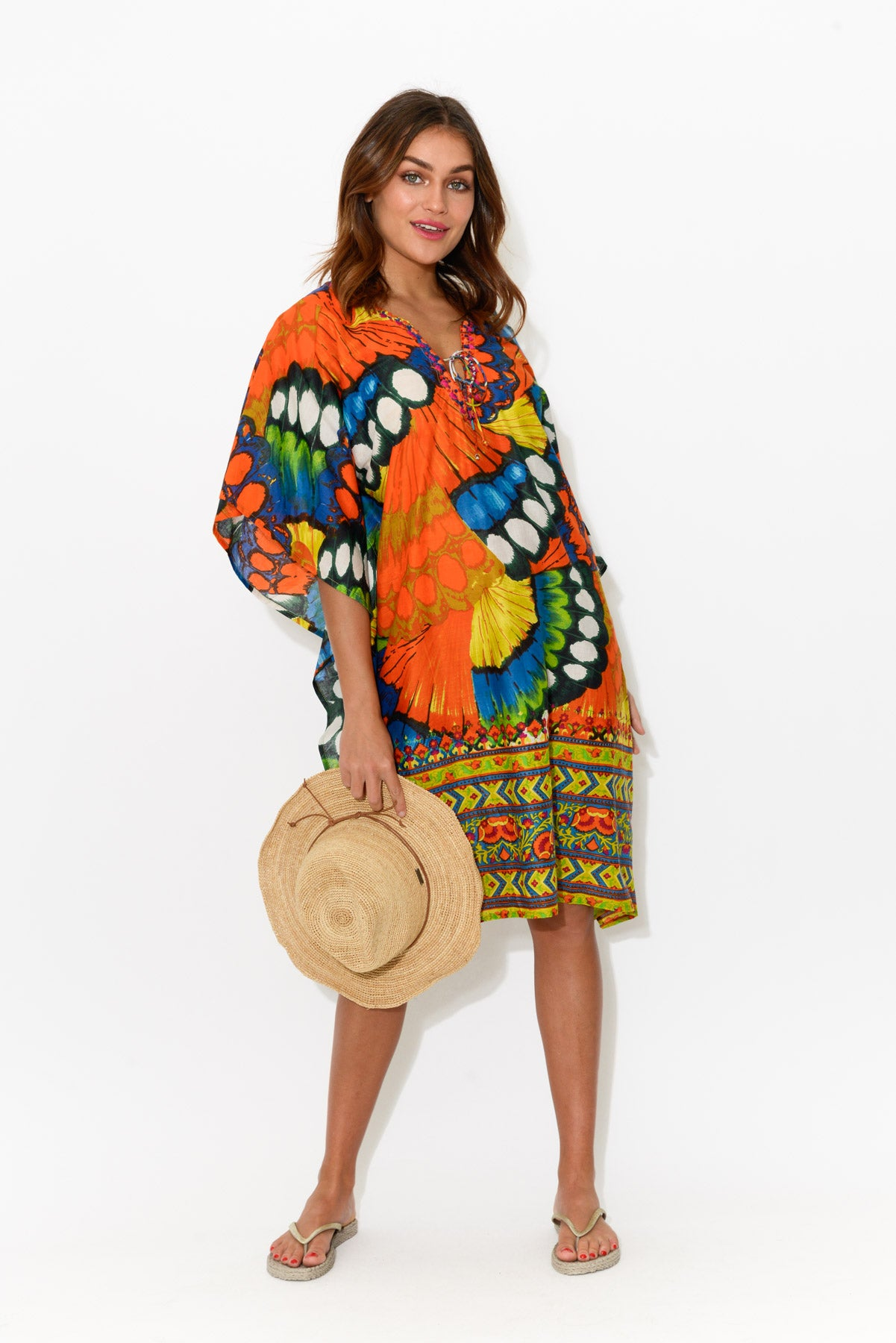 Bedarra Orange Butterfly Cotton Kaftan - Blue Bungalow