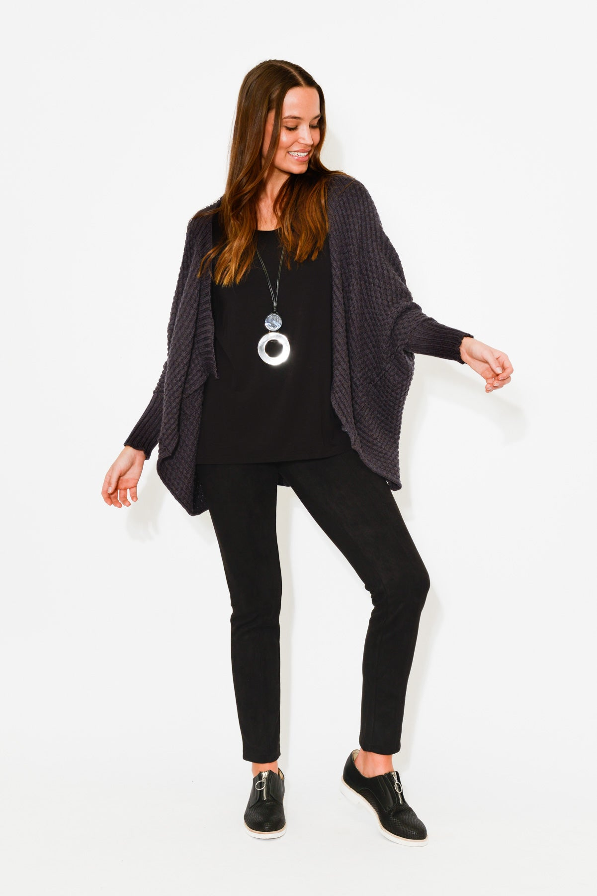 Bellamy Charcoal Merino Wool Cardigan - Blue Bungalow