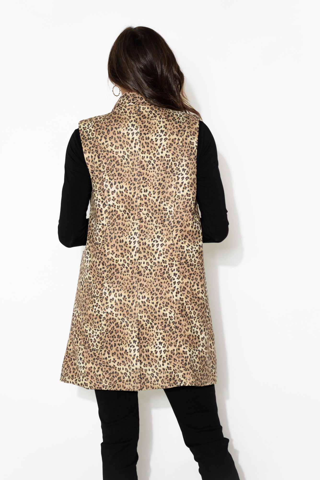 Belle Brown Leopard Sleeveless Jacket
