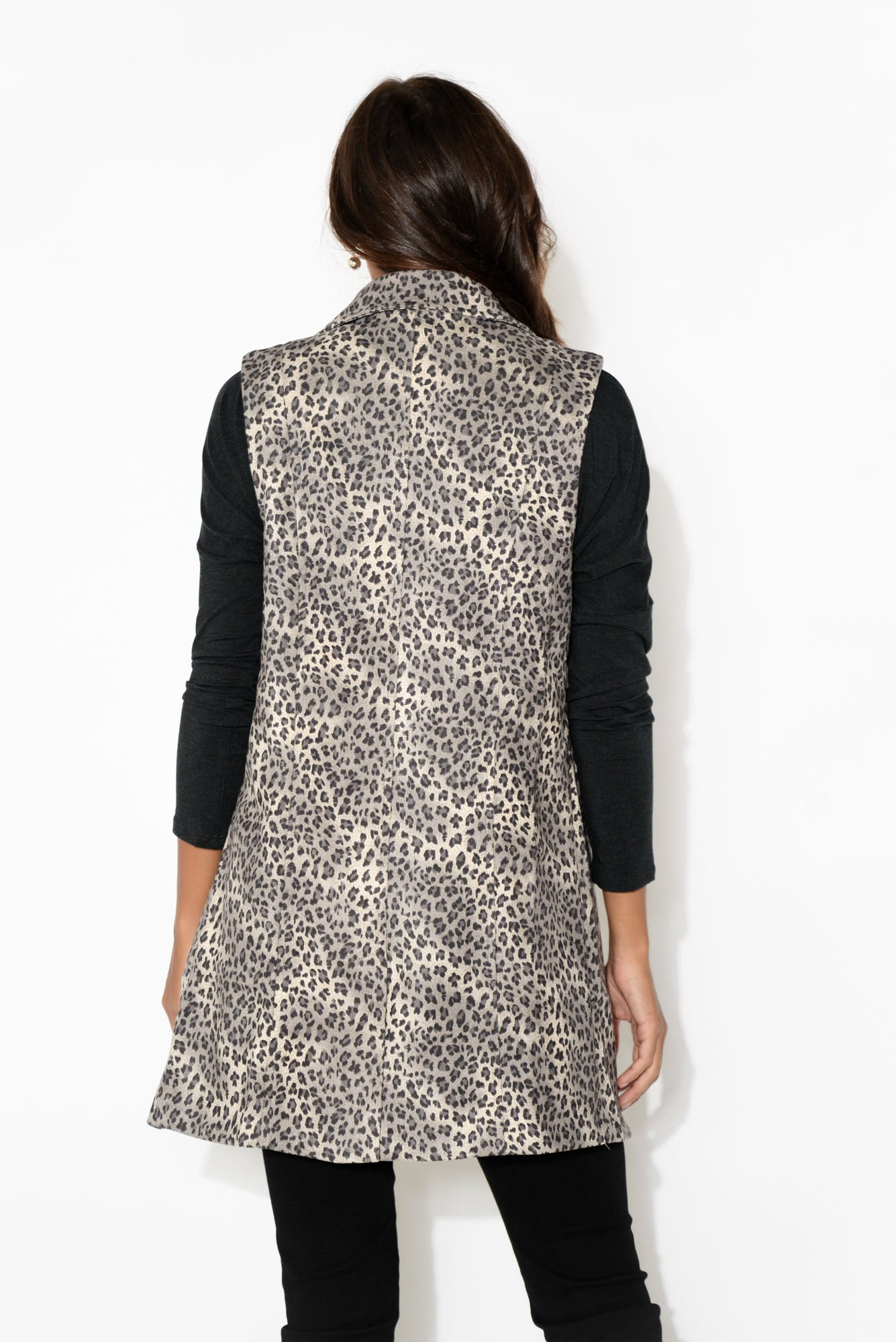 Belle Grey Leopard Sleeveless Jacket