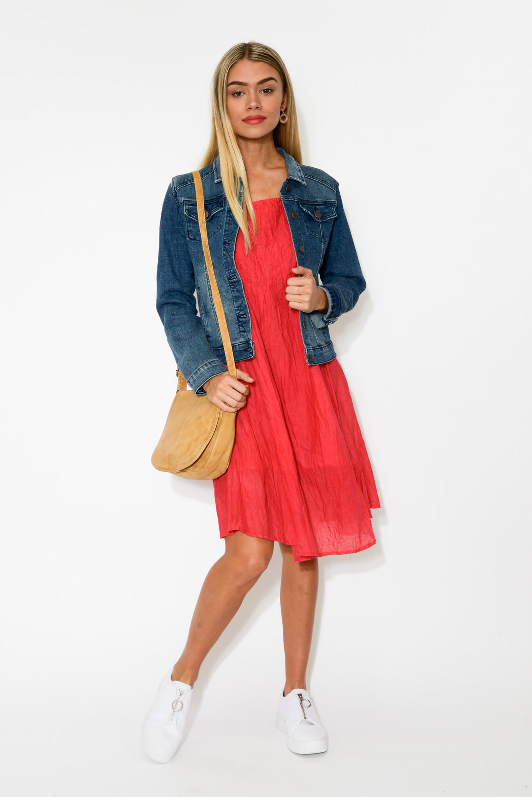 Berry Crinkle Cotton Cap Dress - Blue Bungalow