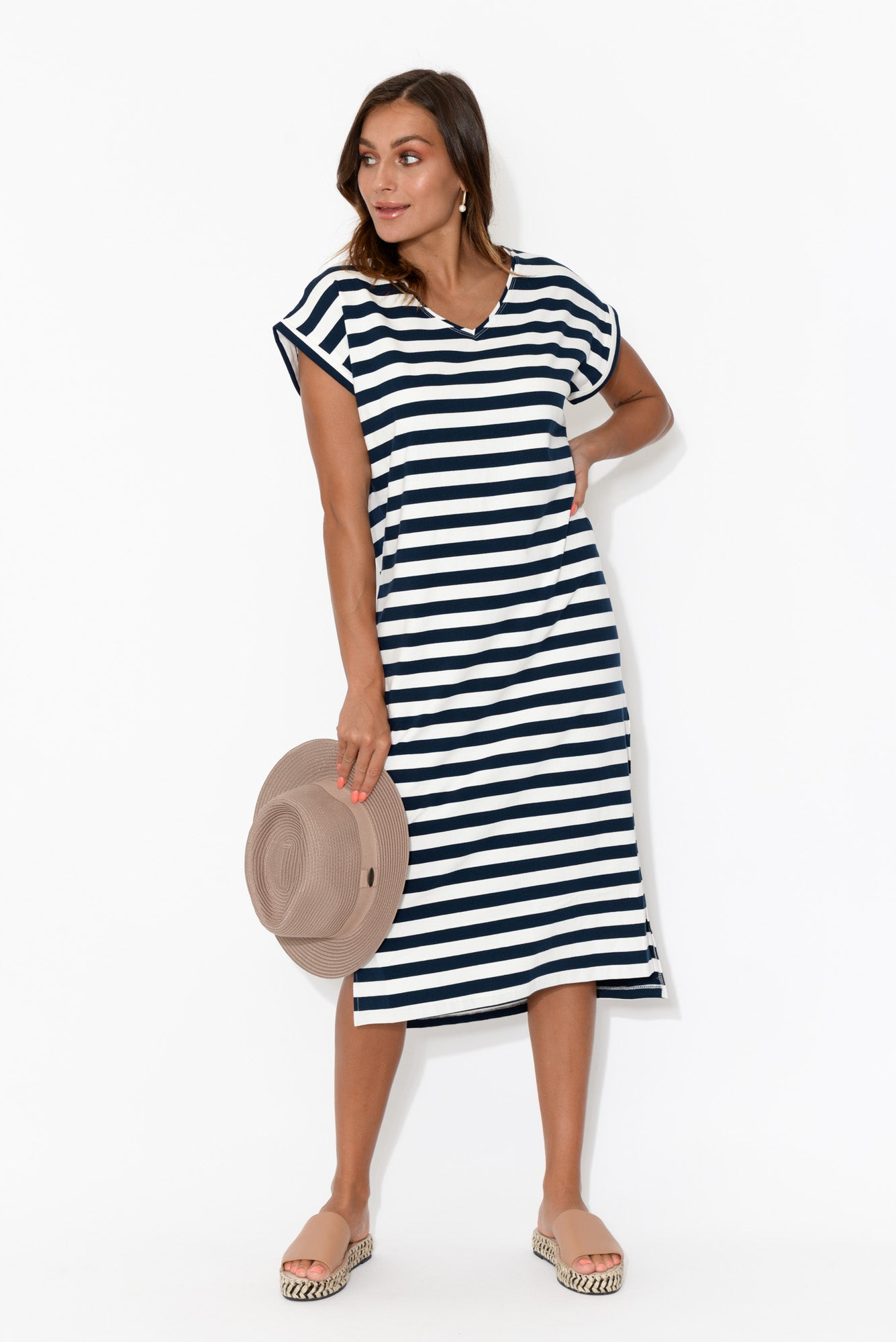 Betty Stripe Midi Dress - Blue Bungalow