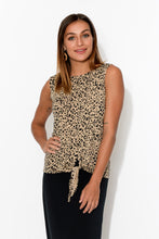 Billie Leopard Tie Front Bamboo Tank