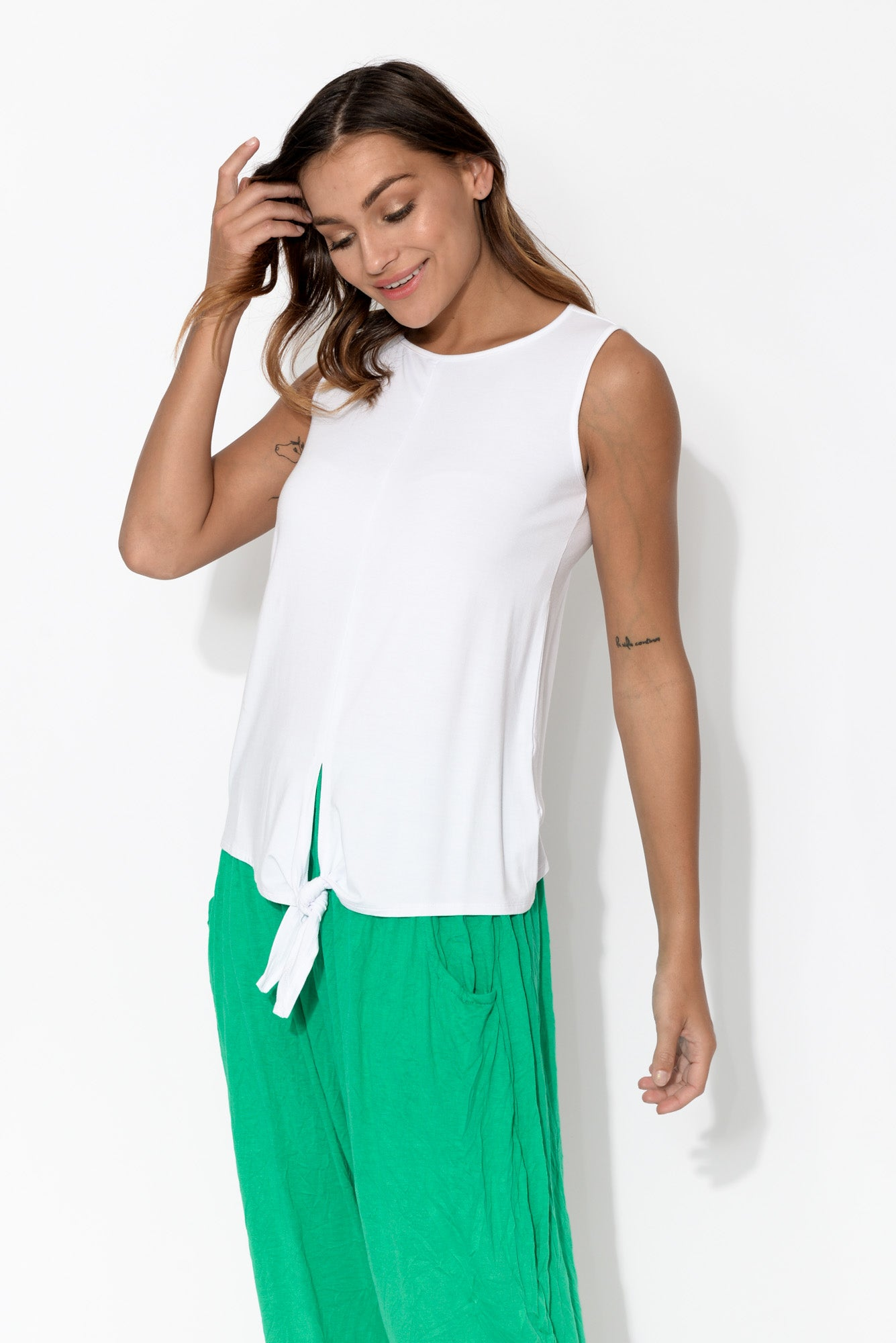 Billie White Tie Front Bamboo Tank