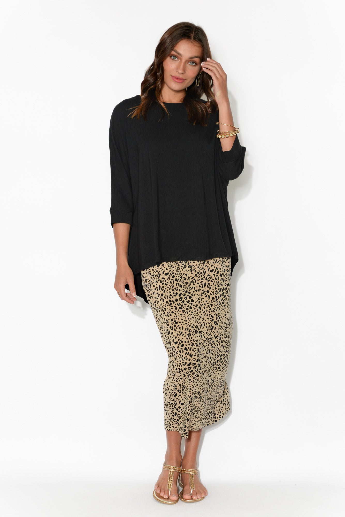 Bindi Black Bamboo Sleeved Top