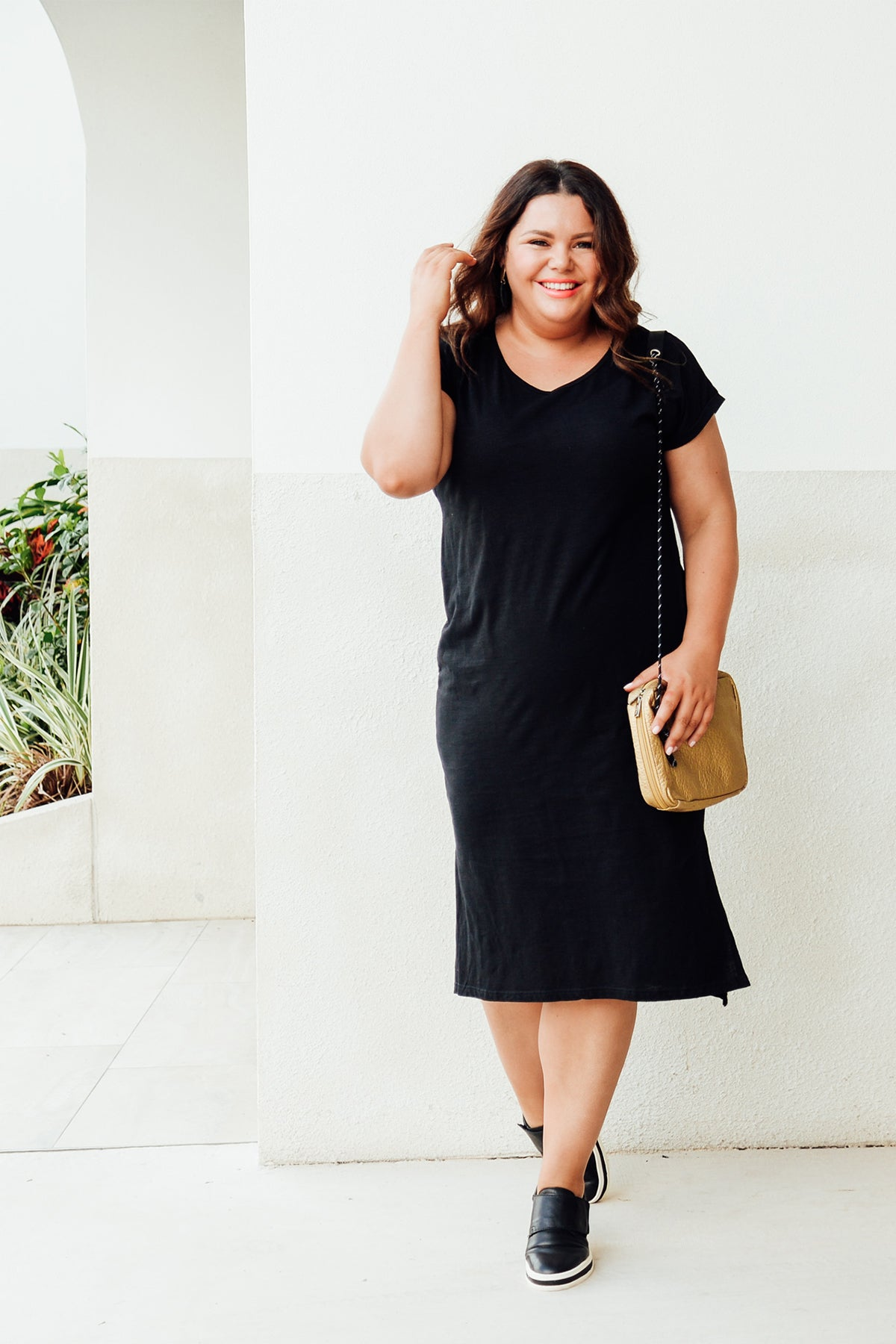 Black Cotton Slub V Neck Tee Dress