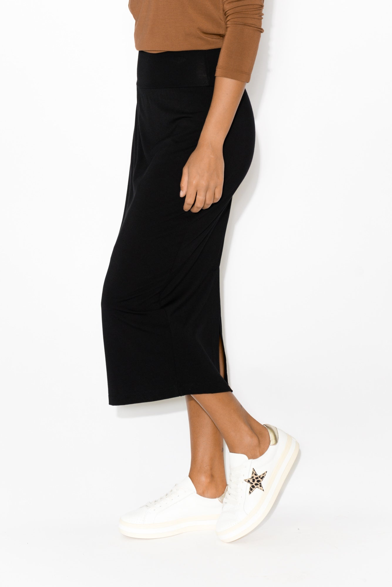 Black Bamboo Maxi Tube Skirt