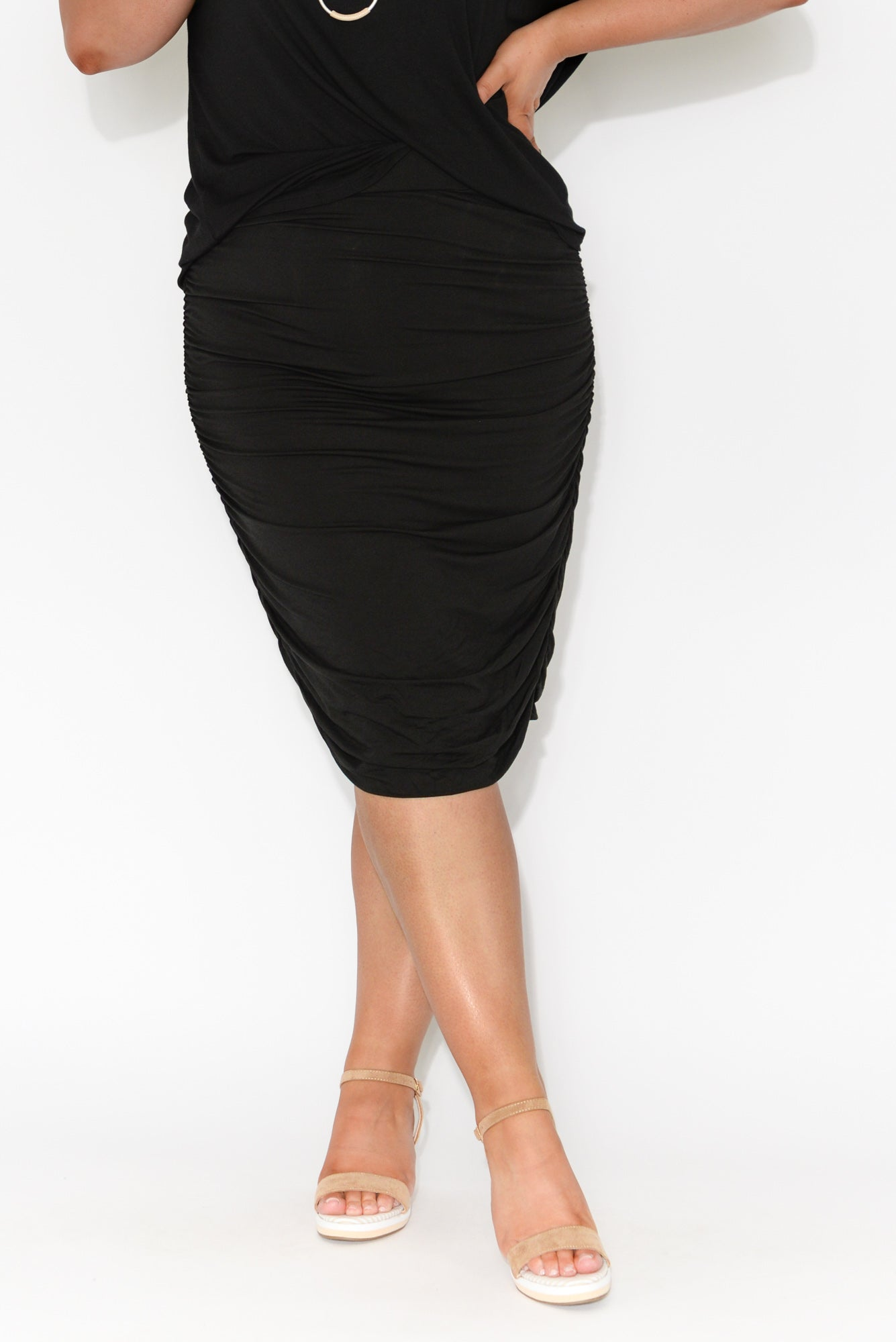 Black Bamboo Ruched Skirt
