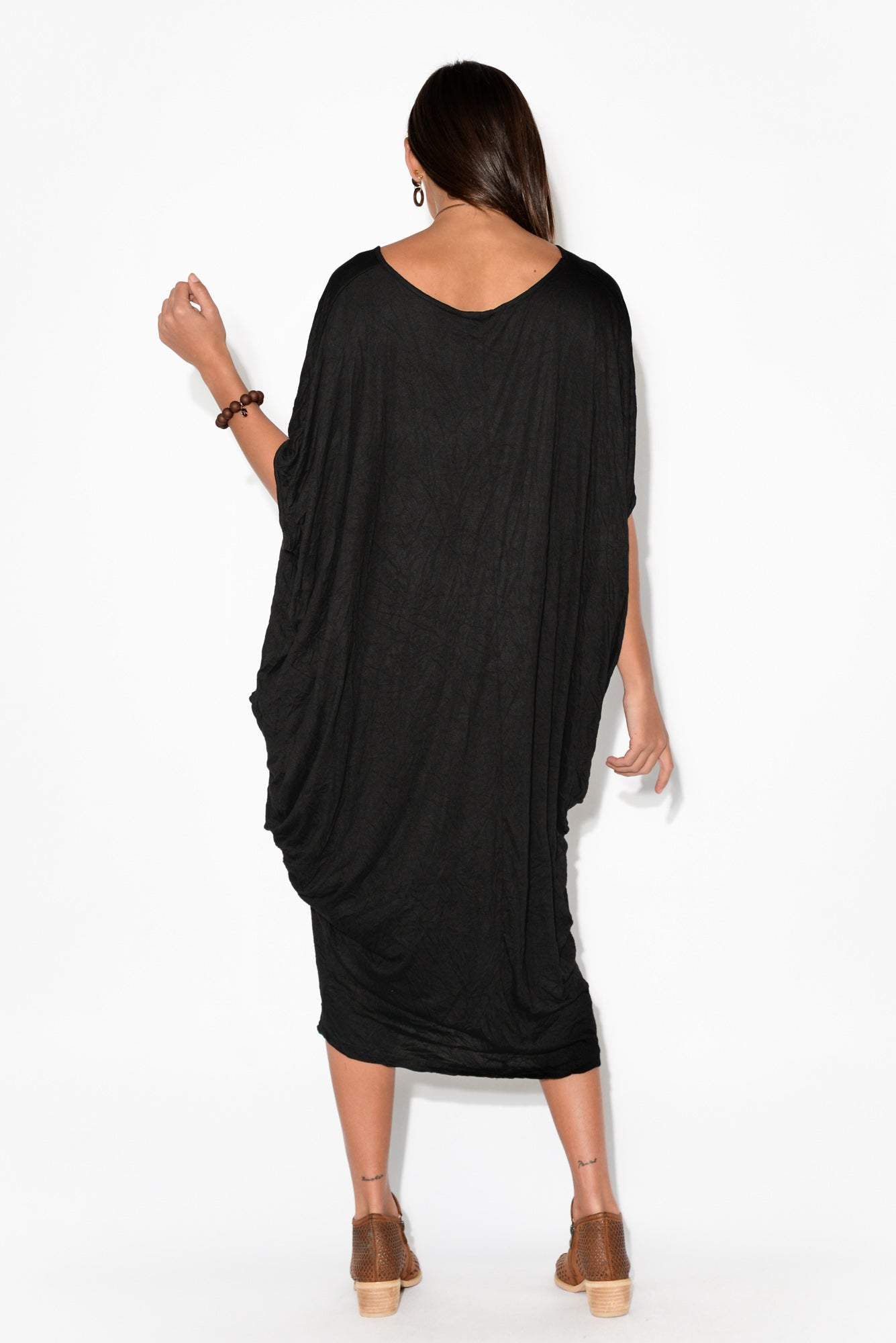 Black Batwing Pocket Cotton Dress