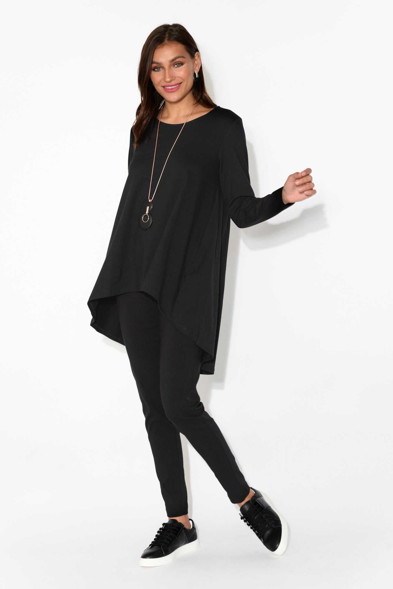 Black Long Sleeve Drop Back Tee