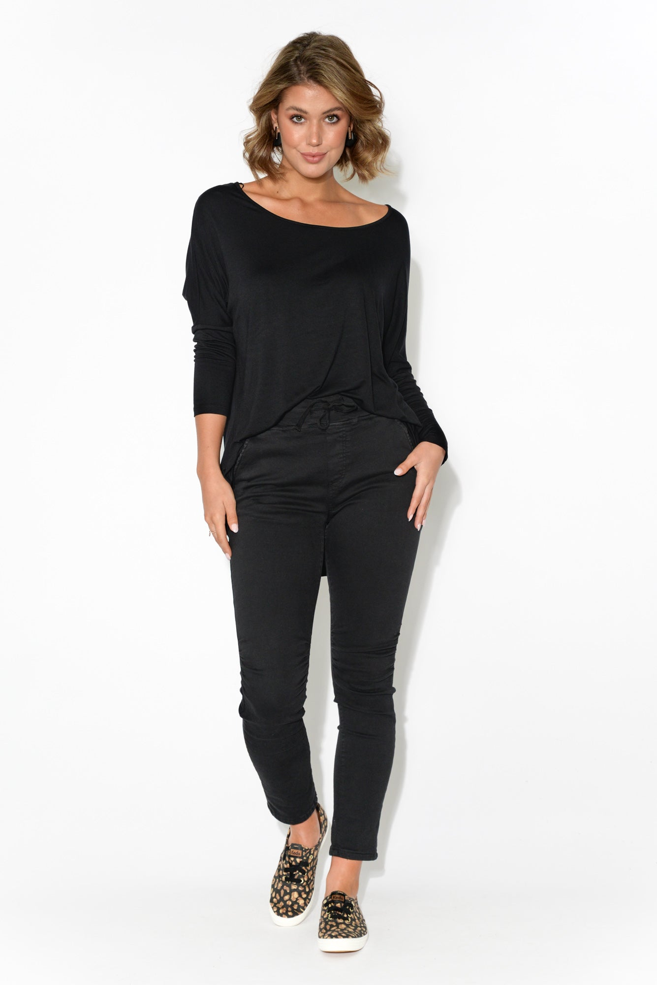 Black Milan 3/4 Sleeve Top
