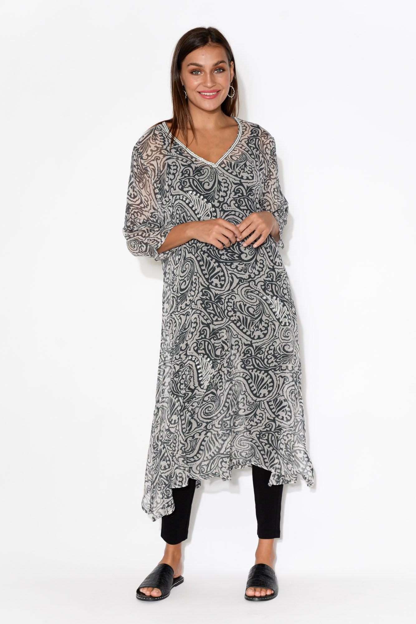 Black Paisley Silk Midi Dress